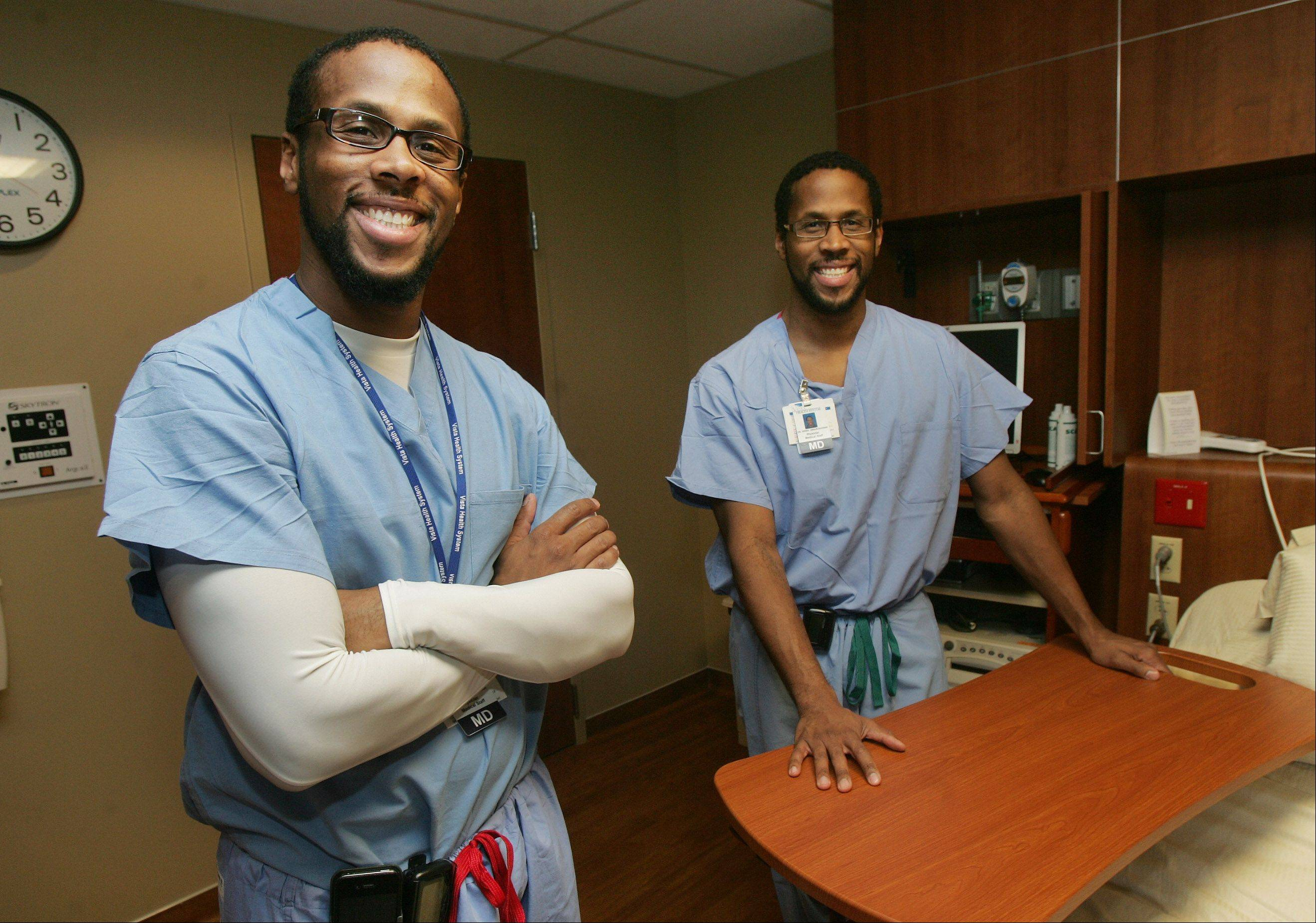 "Twins Jamil, left, and Idries Abdur-Rahman are contestants in this season's ""The Amazing Race,"" which premieres at 7 tonight on CBS. The doctors, shown in the New Family Center at Vista Medical Center East in Waukegan, say they hope to dispel myths about African-Americans, Muslims and male OB-GYNs."