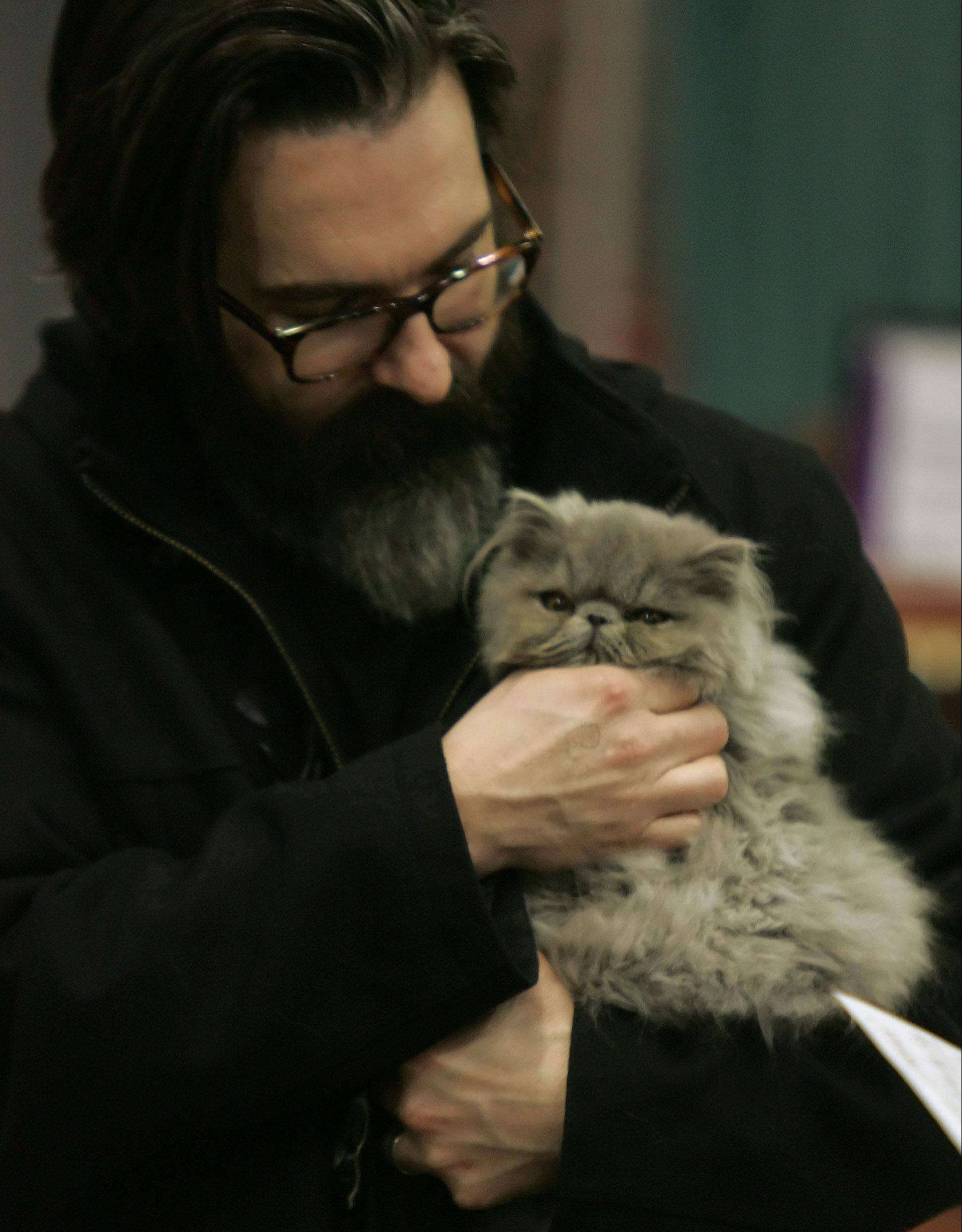 "Scott Morby, of Wauconda, buys a Blue Persian kitten during ""Purr-a-Pawlooza"" Sunday at Harper College in Palatine. The event, also known as the 53rd annual Cat Fanciers' Association Allbreed Cat Show, was hosted by the Lincoln State Cat Club."