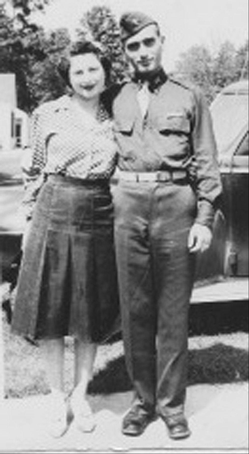 This undated image provided by Hyla Merin shows 2nd Lt. Hyman Markel with his bride, Celia Markel. Markel was a rabbi's son, brilliant at mathematics, the brave winner of a Purple Heart who died in 1945. Markel was killed on May 3, 1945, in Italy's Po Valley while fighting German troops as an officer with the 88th Division of the 351st Infantry Regiment.