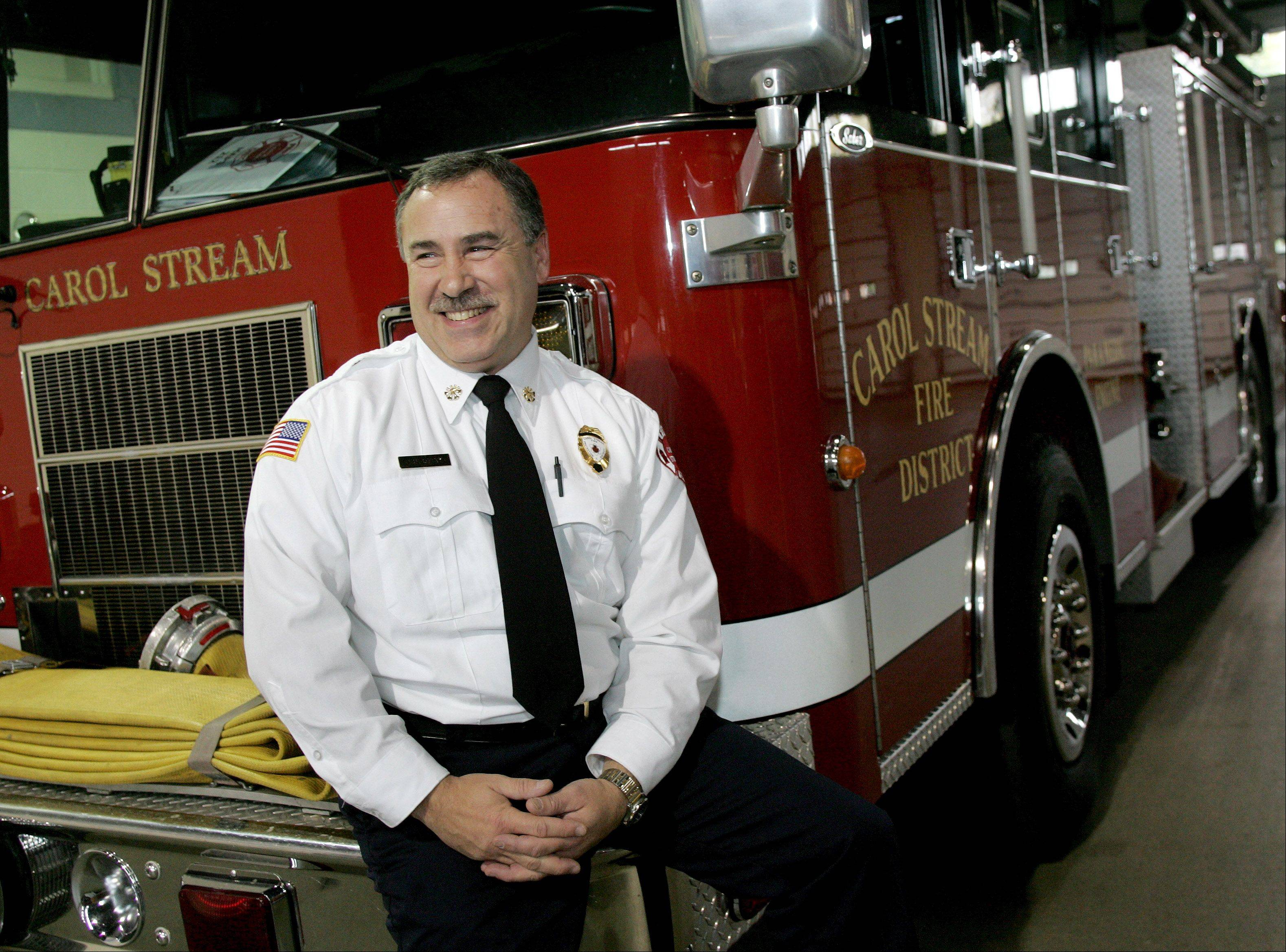 Carol Stream Fire Chief Rick Kolomay says a year old alliance with fire departments from Wheaton, West Chicago and Winfield is paying dividends in terms of cost savings and public safety.