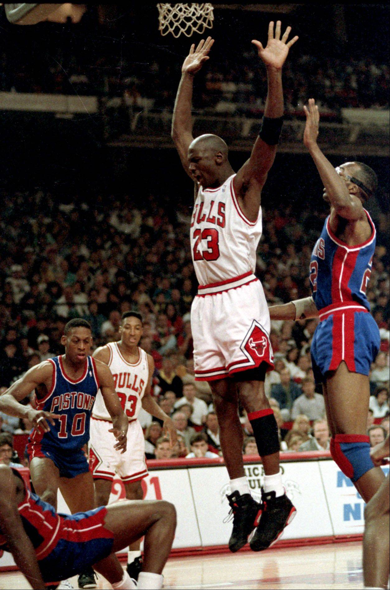The Michael Jordan of the Chicago Bulls plays the Detroit Pistons during the 1991NBA Playoffs.