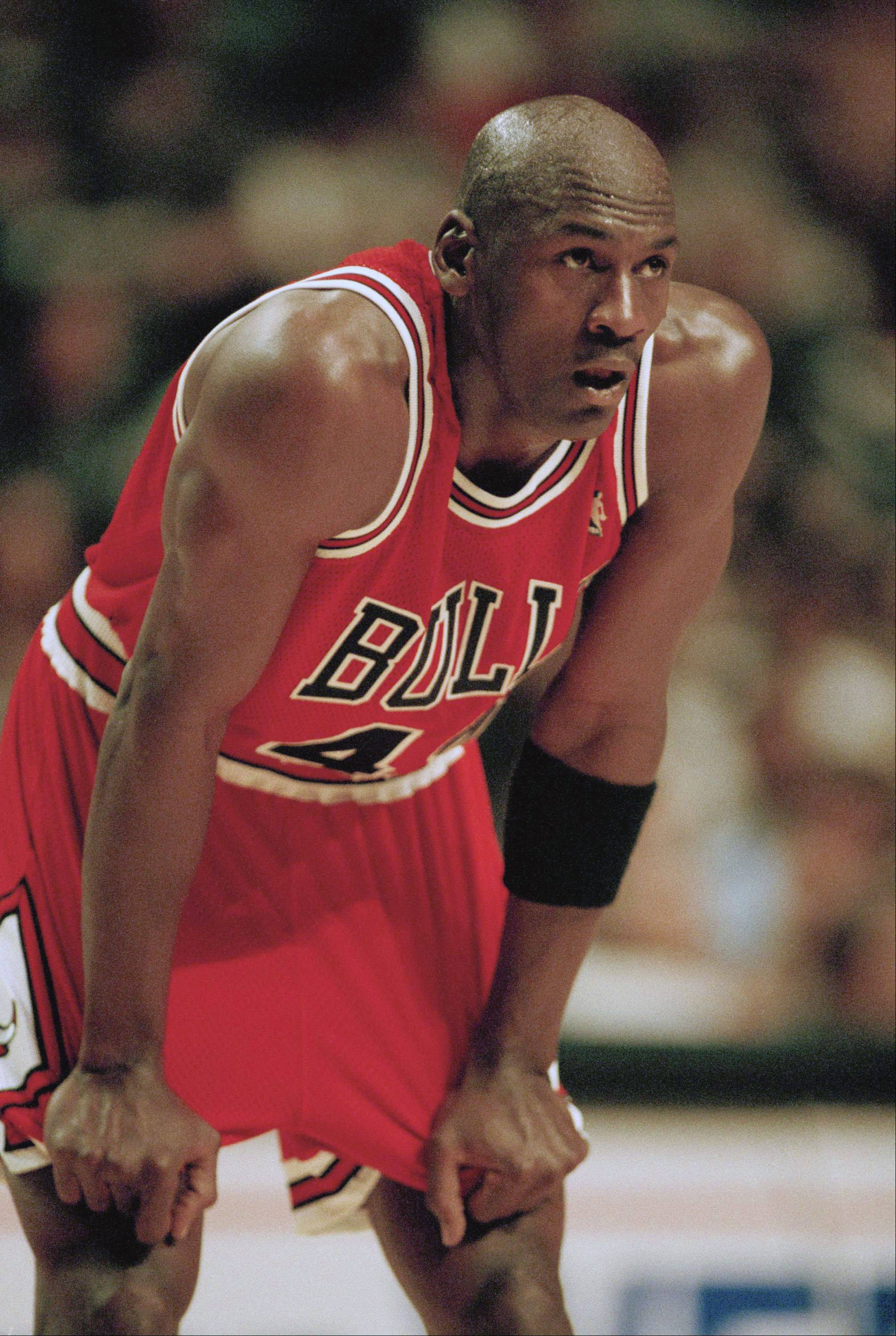 Chicago Bulls Guard Michael Jordan catches his breath during the second quarter of his comeback game against the Indiana Pacers, Sunday, March 19, 1995, Indianapolis, In. Jordan played 43 minutes in the 103-96 overtime loss to the Pacers.