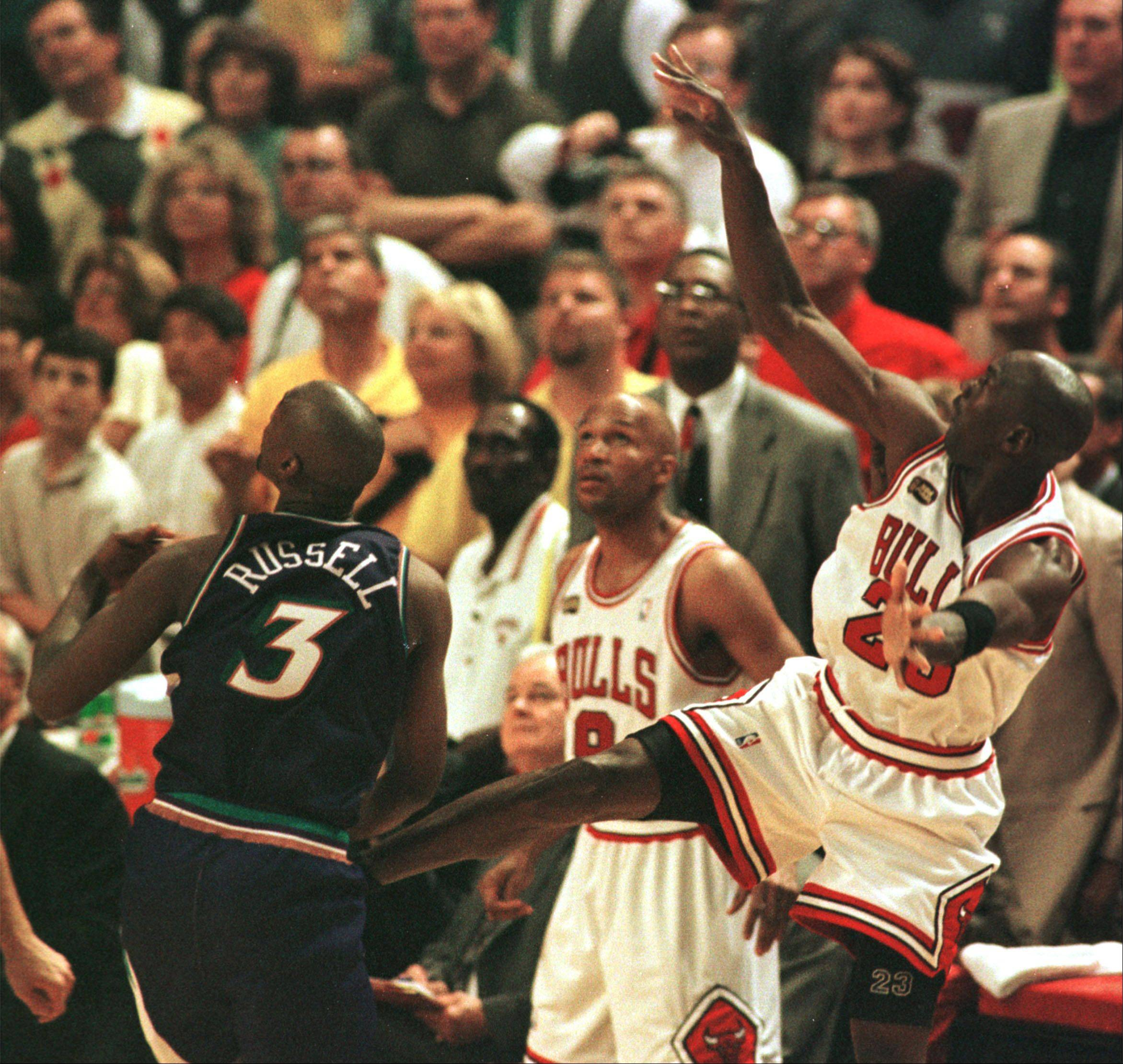 Chicago Bulls Michael Jordan takes the last shot to win the game with 1.1 seconds on the clock against the Utah Jazz and the sixth NBA Championship in 1994.