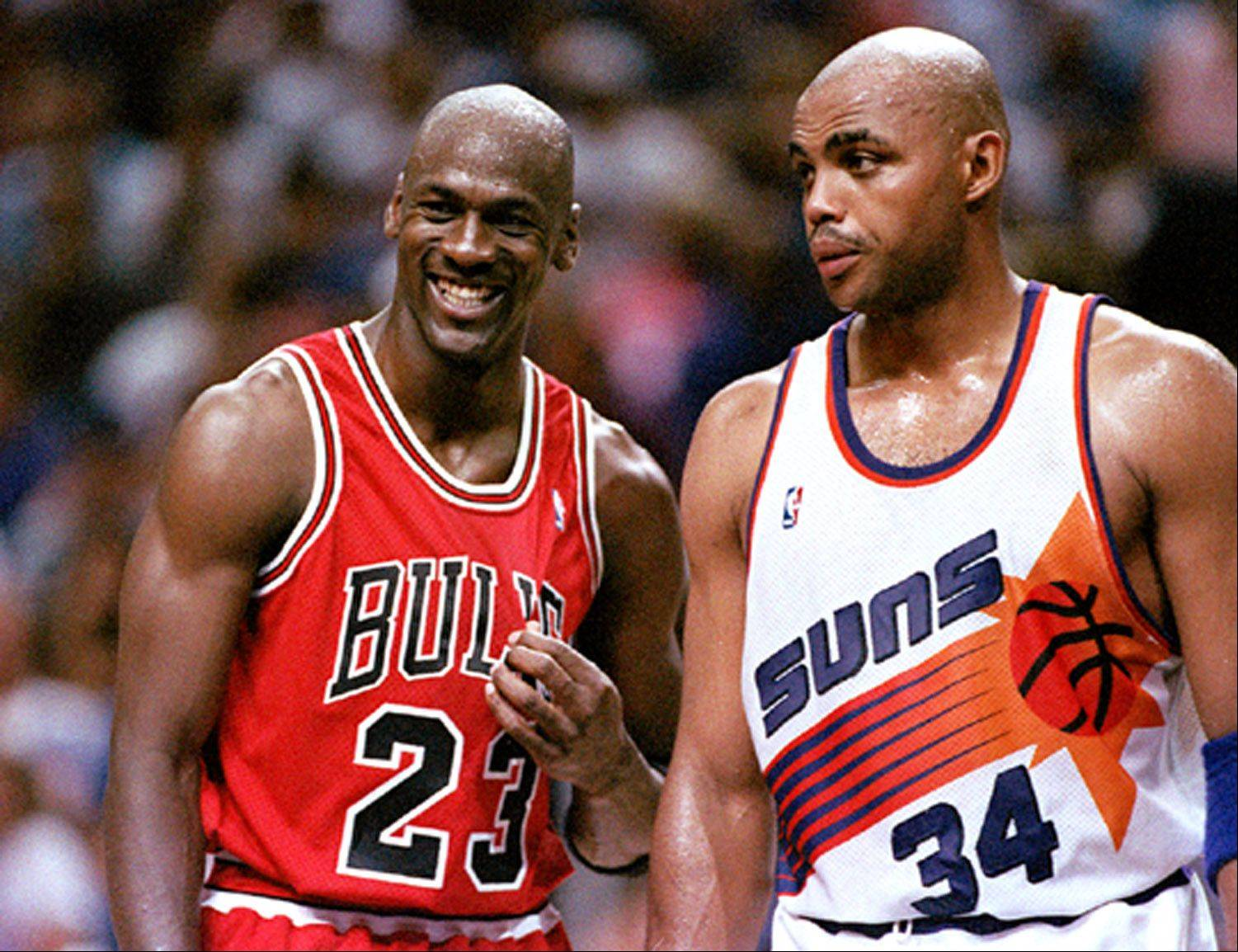 Michael Jordan and Charles Barkley during the playoffs.