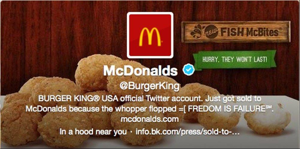 This is what appears to be Burger King's Twitter account after it was apparently hacked Monday. Starting just after noon Eastern time on Monday, the fast-foot company's Twitter picture was changed to a McDonald's logo, and the account tweeted that it had been sold to rival McDonald's.