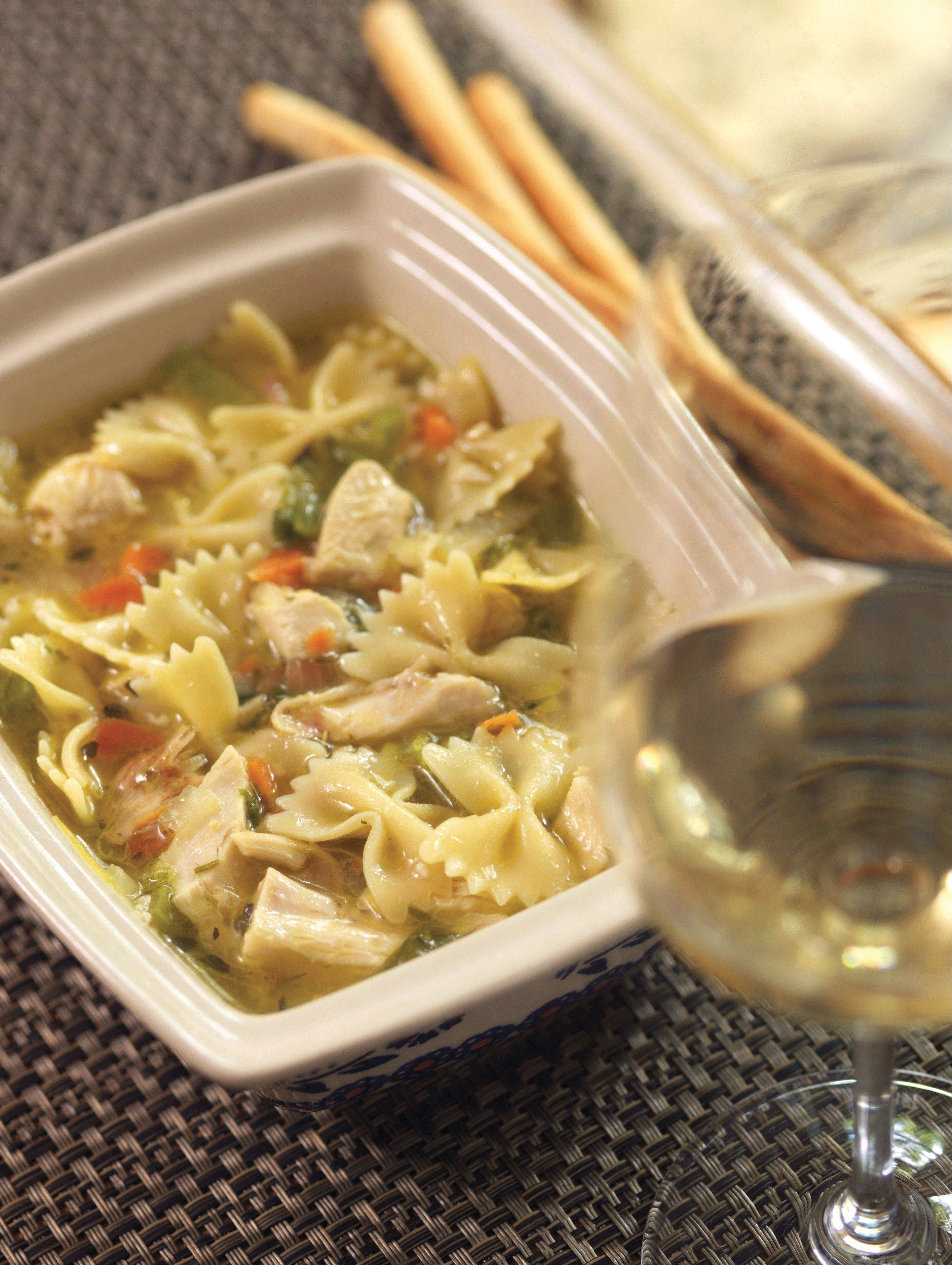 "Sicilian Chicken Soup with Bowtie Pasta is one of 125 recipes in ""The Soupbox Cookbook."""