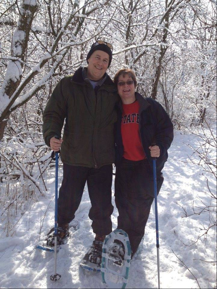 Mike Kenefick and Mickey Weldon of Salt Creek Park District's Waist Management team mixed it up with some outdoor exercise by participating in a snowshoeing class.