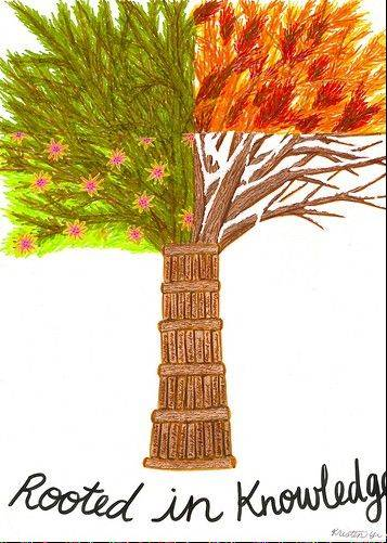 """Rooted in Knowledge"" was created by St. Viator junior Kristen Yi."