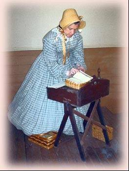 Costumed interpreter Ellie Carlson will re-enact an 1870s classroom at 3 p.m. Saturday, Feb. 23, during the first program of the Maple Street Chapel Preservation Society's annual variety series.