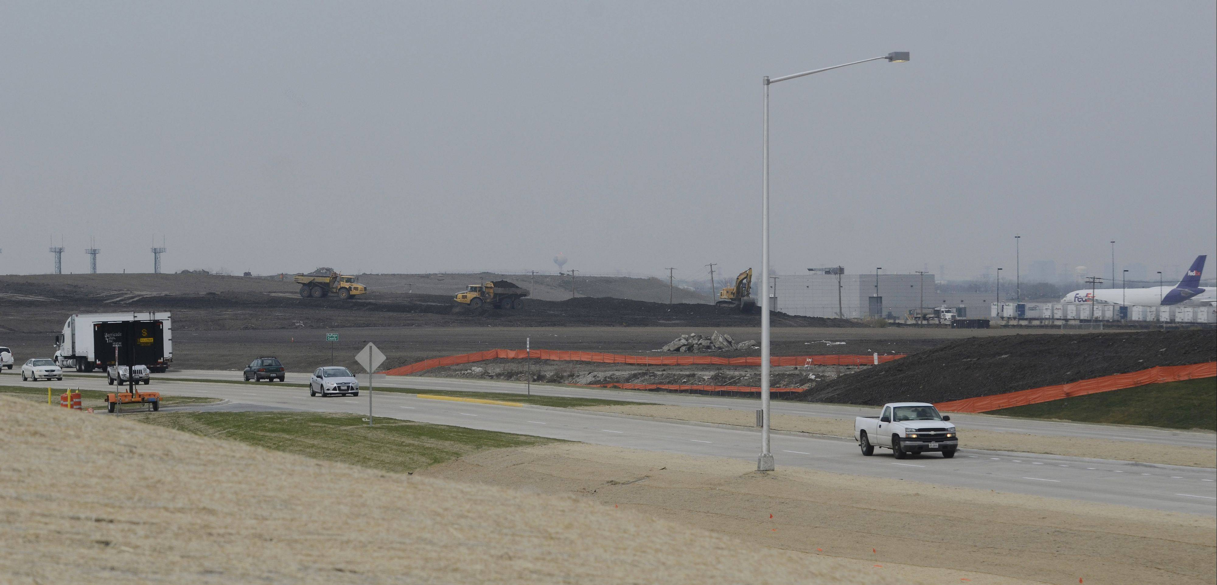Workers continue progress on a new runway on the south side of O'Hare International Airport, set to be commissioned in 2015.