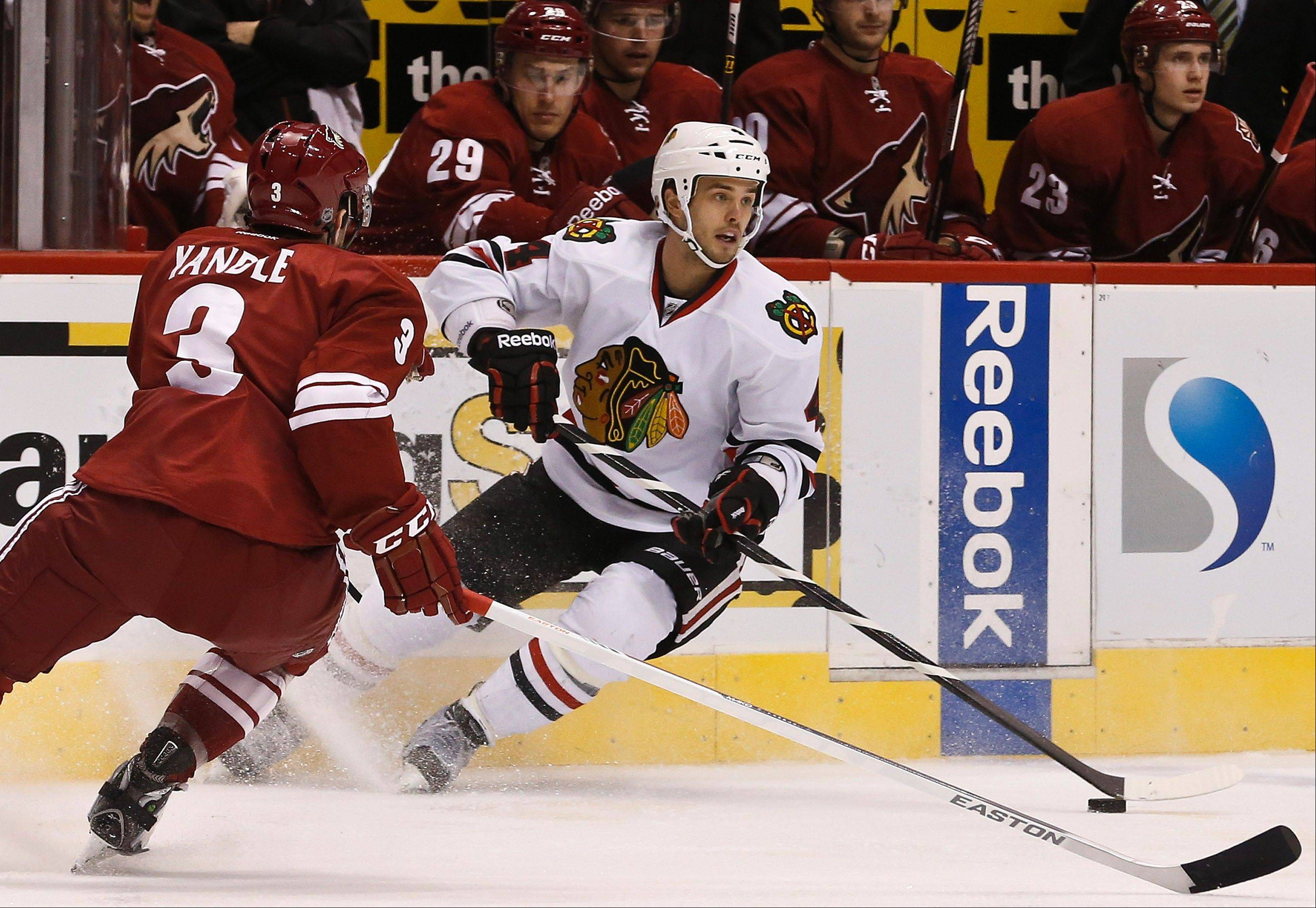 Niklas Hjalmarsson (4) is plus-8 after 15 games, ranking him second among Blackhawks defensemen behind partner Johnny Oduya, who is plus-10.