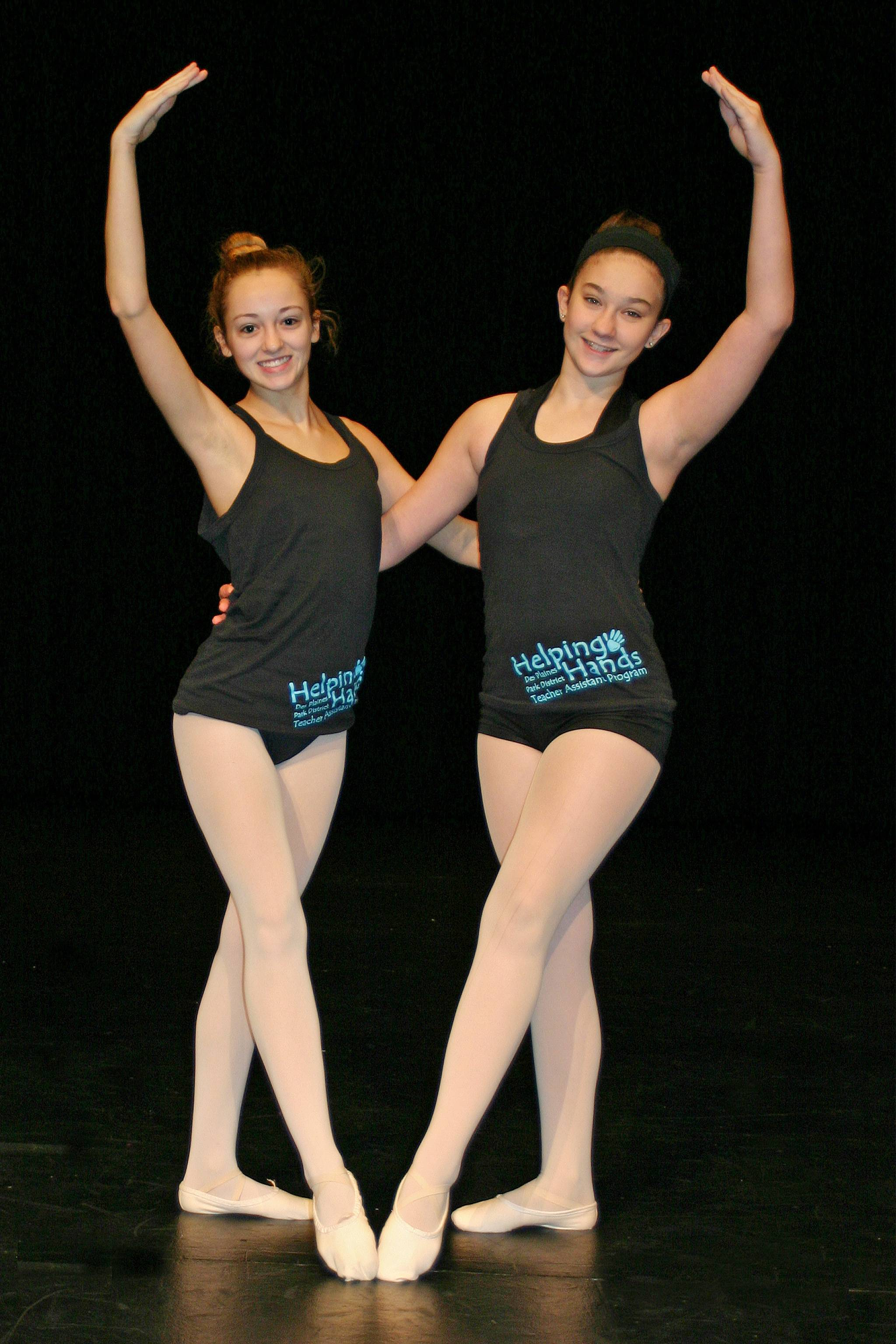 Georgina Genovese and Megan Swanson are two of the thirteen Helping Hands Dance Assistants for the Des Plaines Park District, assisting in ballet, tap and lyrical beginning level classes.