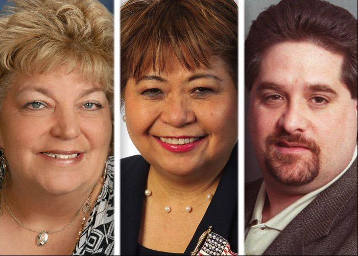 Linda Jackson, left, Marilyn Liwanag and Ed Pope are candidates in the race for Glendale Heights village president in the April election.