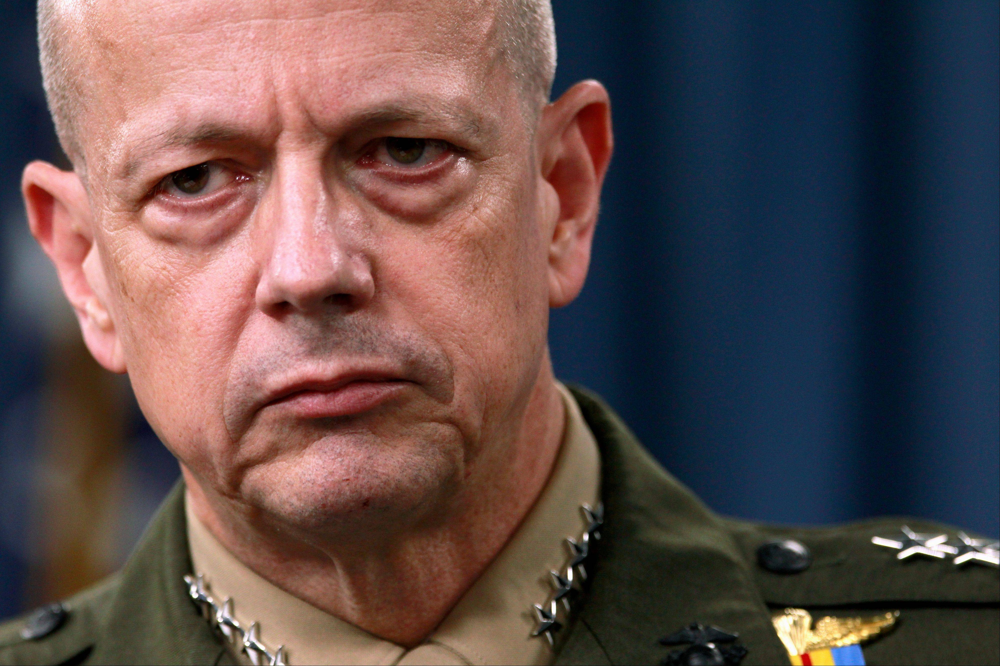 Marine Gen. John Allen, top commander of U.S. and coalition forces in Afghanistan for the past 19 months, said he will retire to care for his ill wife, declining advancement to the post of supreme allied commander in Europe.
