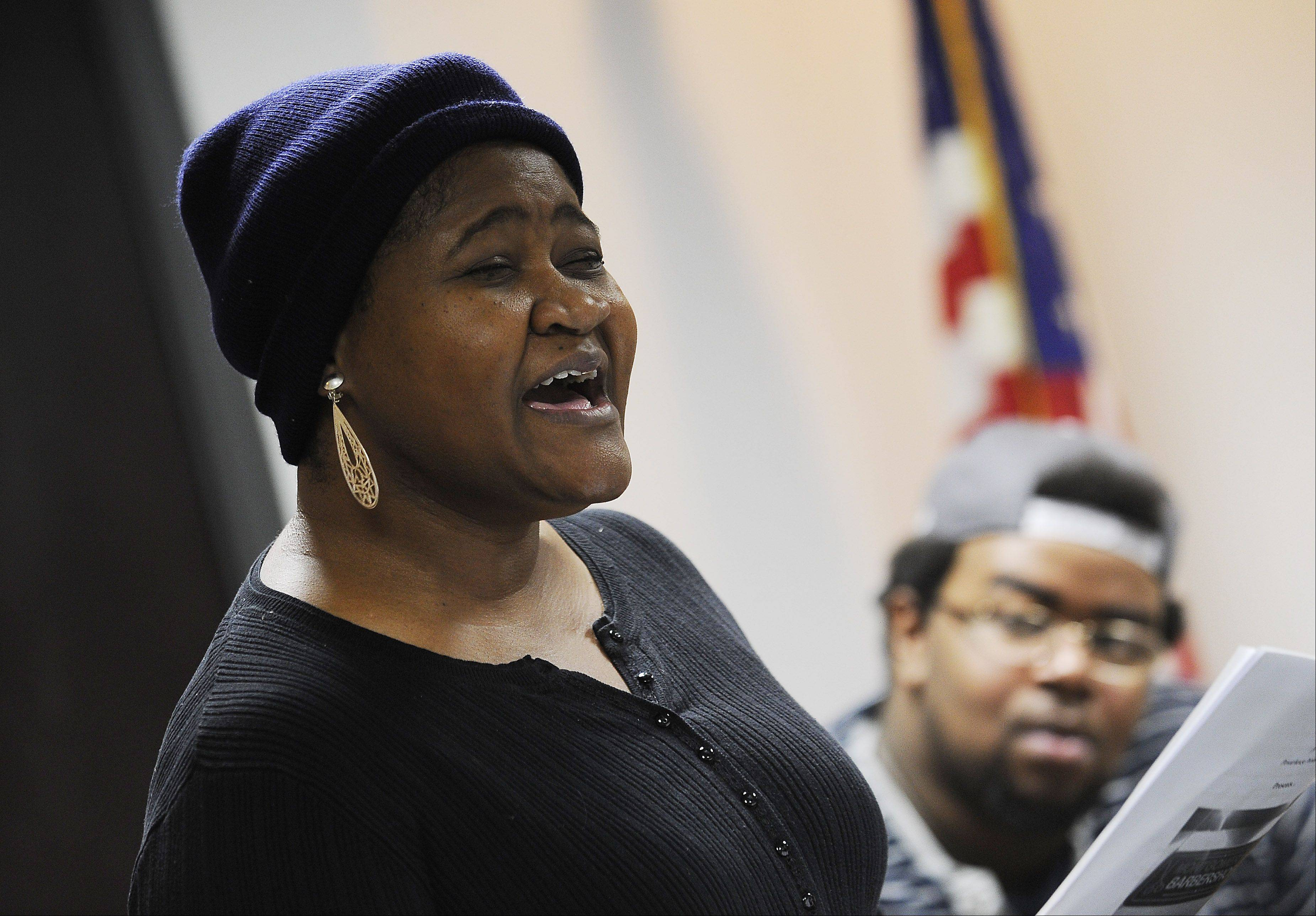 Carmelita Edmonds of Hoffman Estates sings her solo song during a rehearsal for last year's Black History Month performance. This year's show will be at 7 p.m. on Saturday, Feb. 23, at the Schaumburg Prairie Center for the Arts.