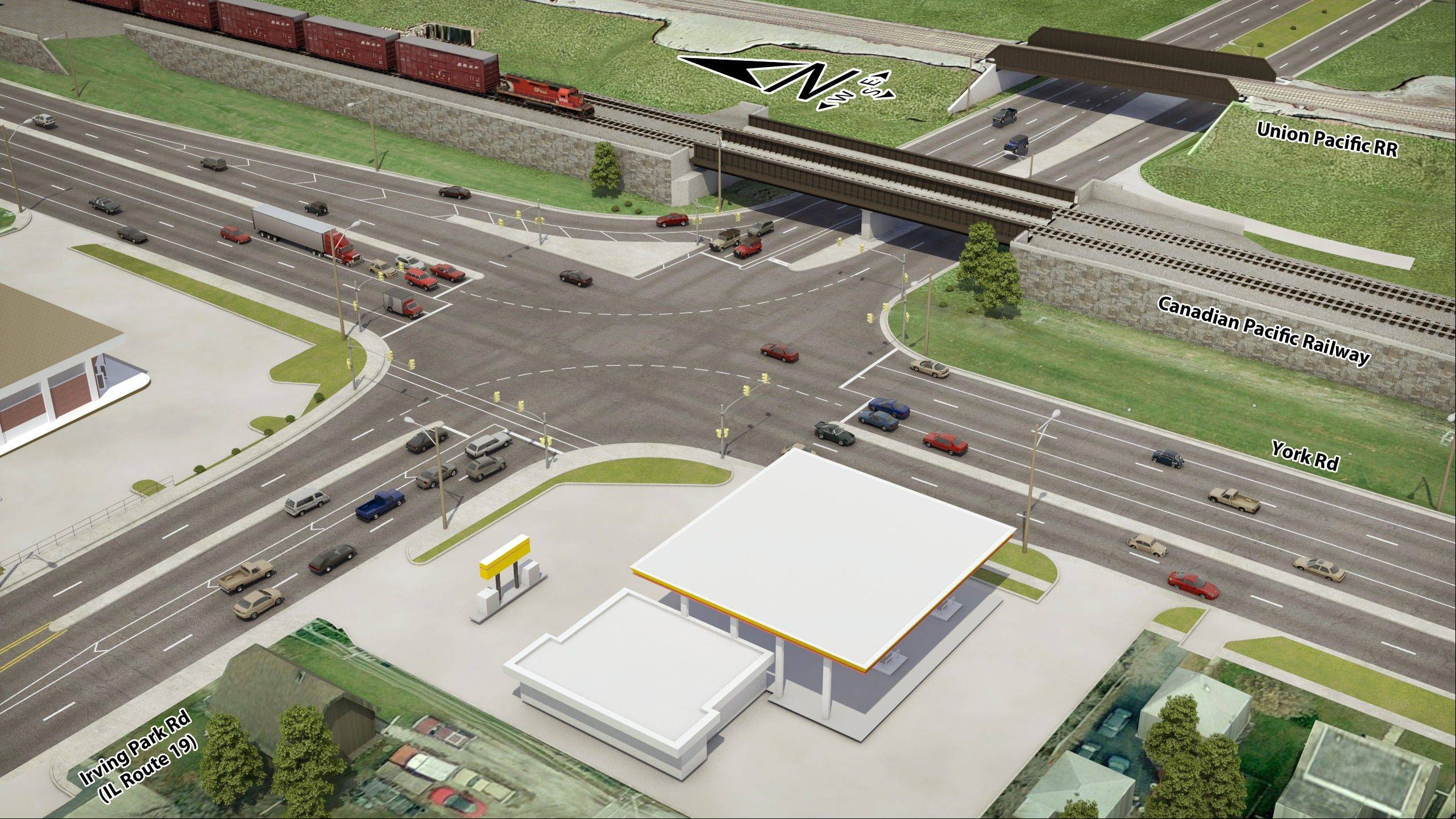 An illustration of the reworked intersection of York and Irving Park roads in Bensenville.