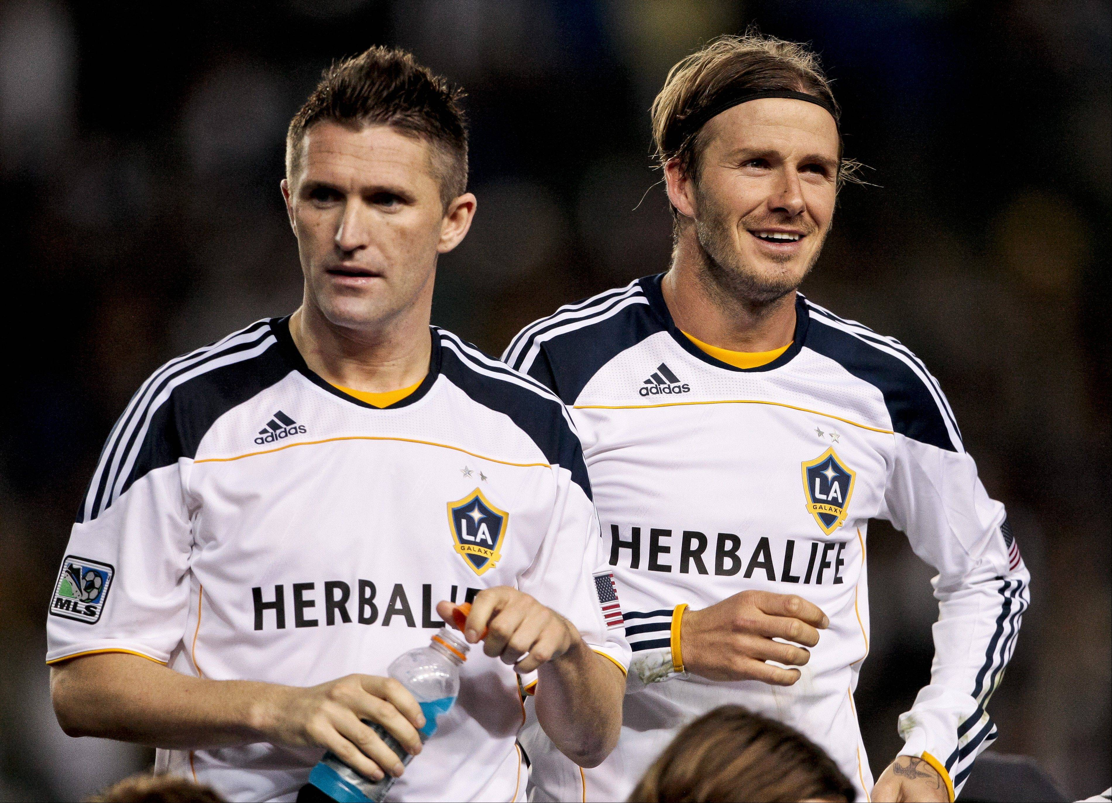 David Beckham, right, is gone, but the Los Angeles Galaxy still has Robbie Keane as it tries to defend its 2012 MLS Cup title. The Seattle Sounders, Real Salt Lake and San Jose Earthquakes, however, could pull ahead of the Galaxy this season.