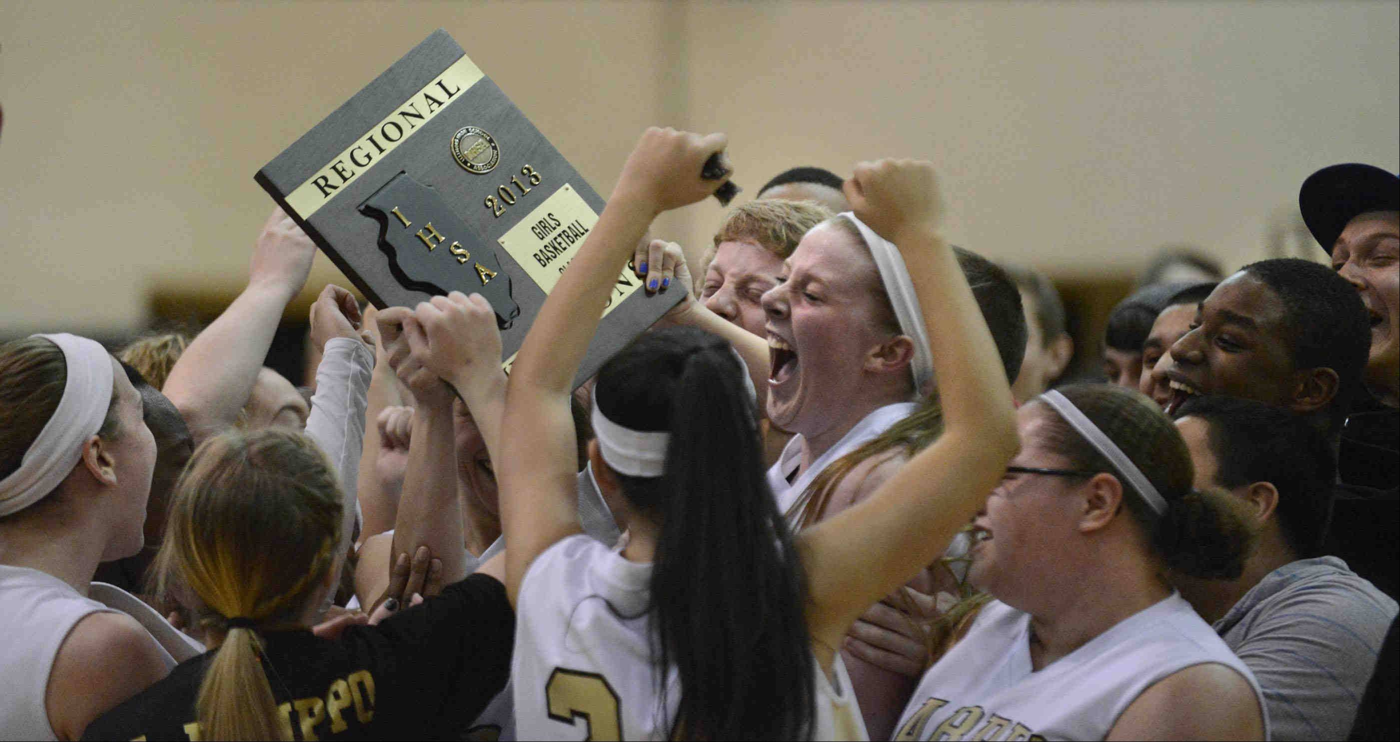 Streamwood celebrates their win over South Elgin in the Class 4A regional championship game Thursday in Streamwood.