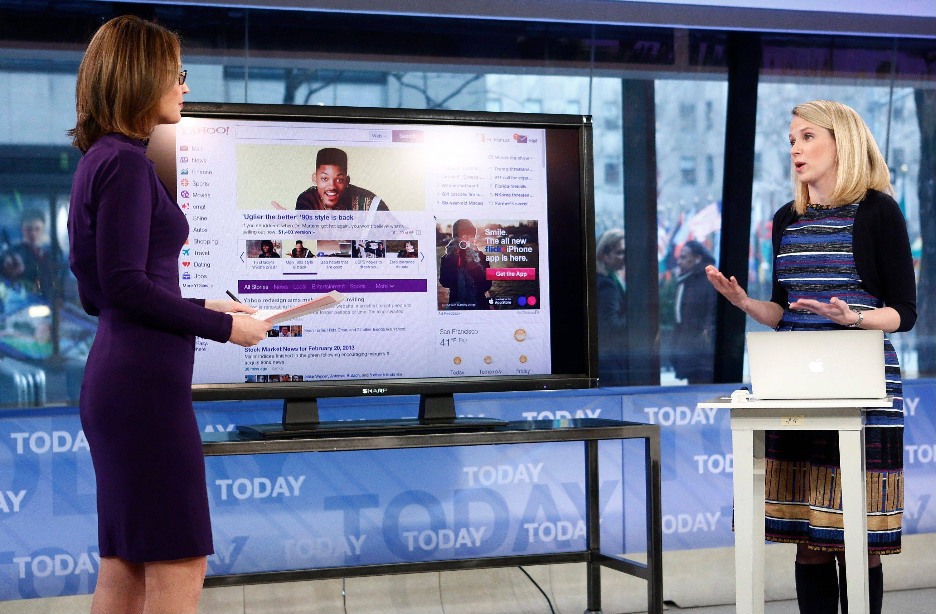 "Savannah Guthrie, left, is seen interviewing Yahoo CEO Marissa Mayer on NBC News' ""Today"" show Wednesday, as Mayer introduces the website's redesign."