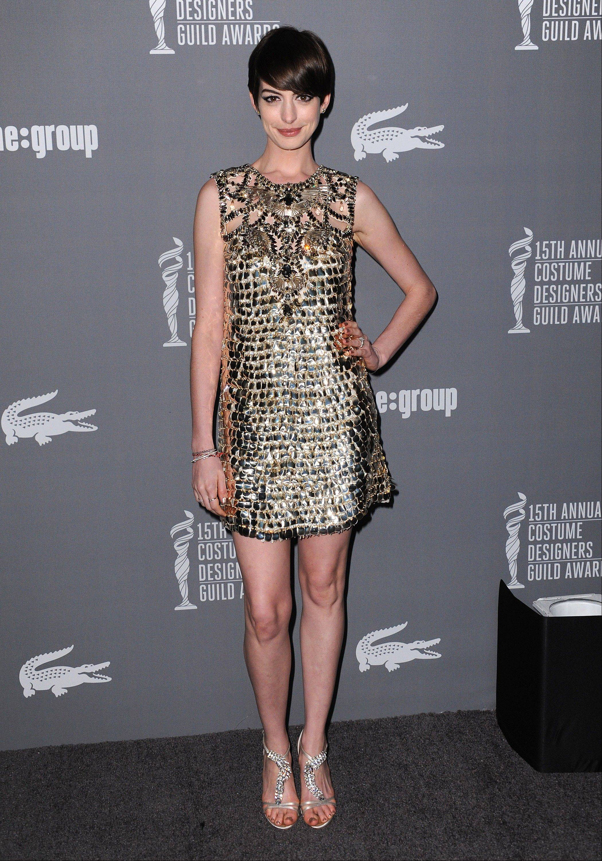 Anne Hathaway was honored with the spotlight award at the 15th Annual Costume Designers Guild Awards Tuesday in Beverly Hills.