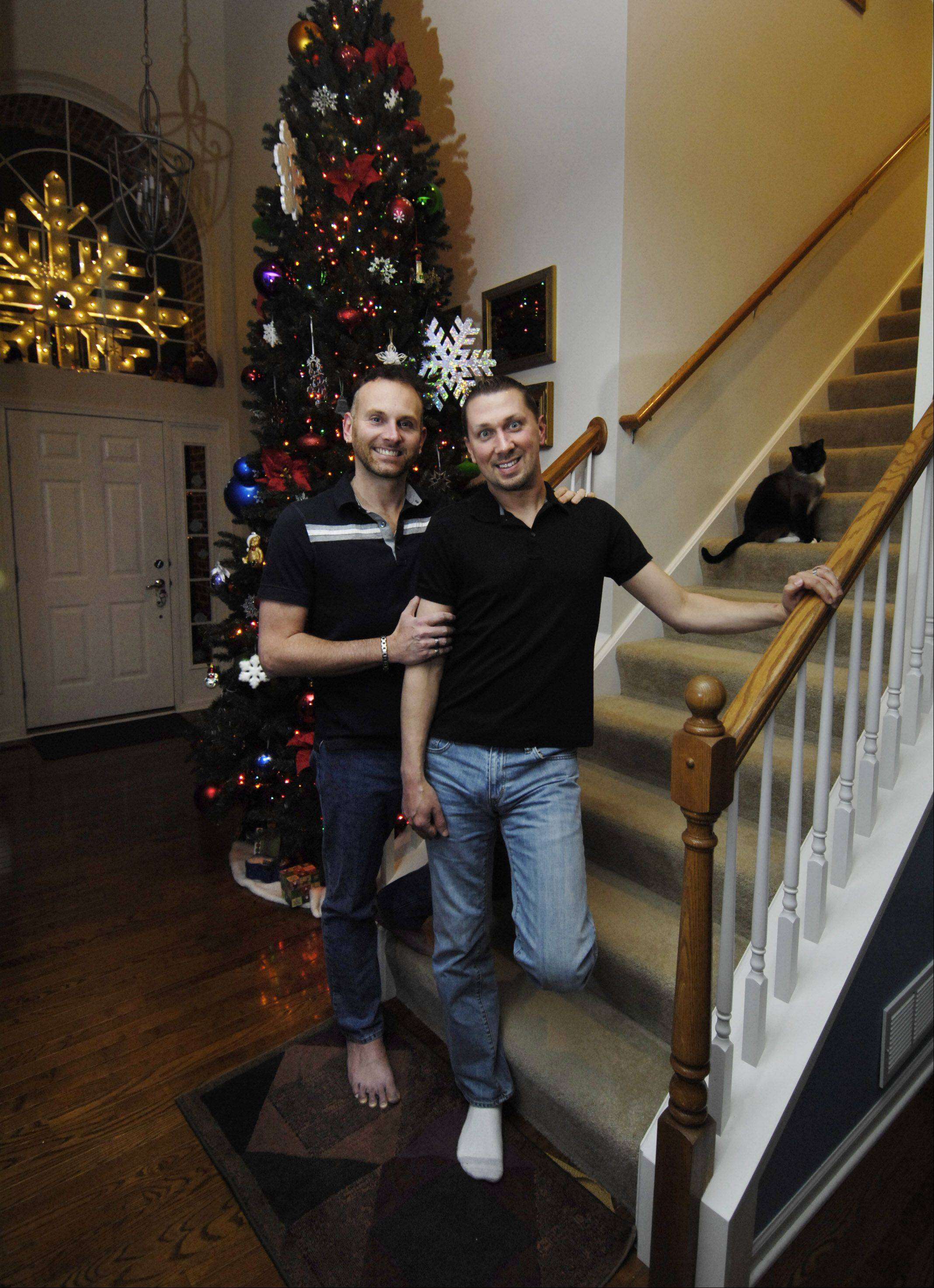 David, left, and Conrad Foxx of Carpentersville would turn their civil union into a marriage should gay marriage become legal in Illinois.