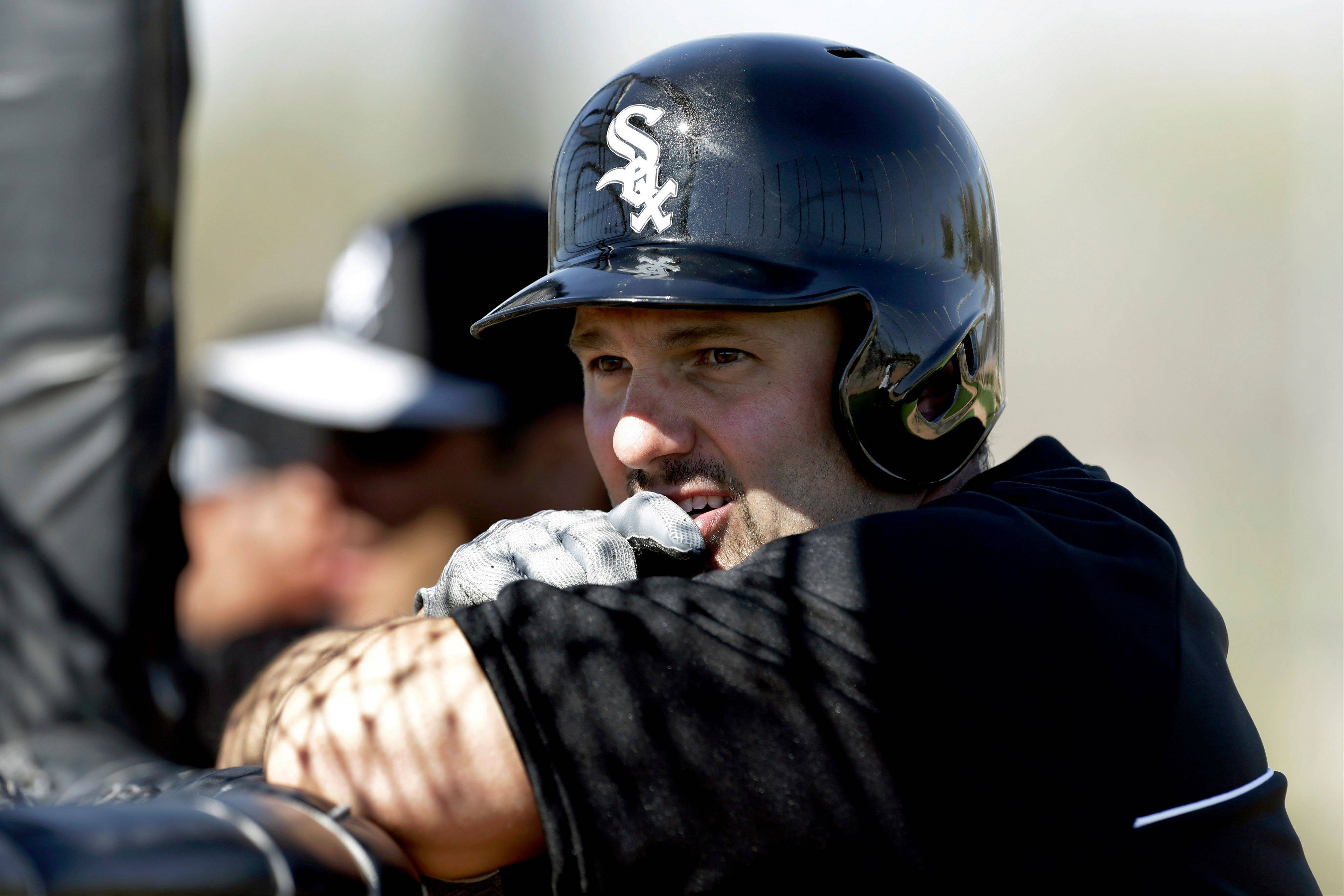 Chicago White Sox first baseman Paul Konerko watches batting practice during baseball spring training in Phoenix, Sunday, Feb. 17, 2013. (AP Photo/Paul Sancya)