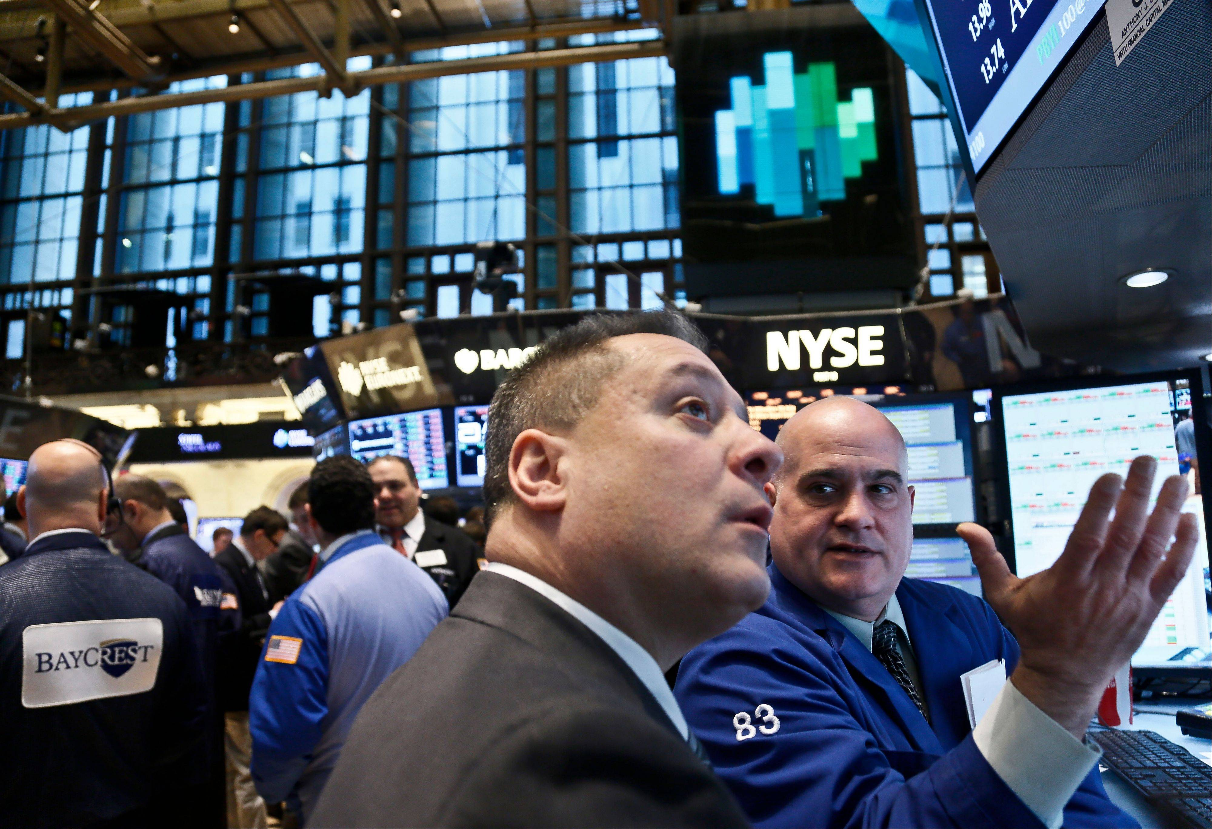 ASSOCIATED PRESSU.S. stocks fell from five-year highs, giving the Standard & Poor's 500 Index its biggest decline since November, as minutes from the Federal Reserve's last meeting showed a debate over further stimulus action.