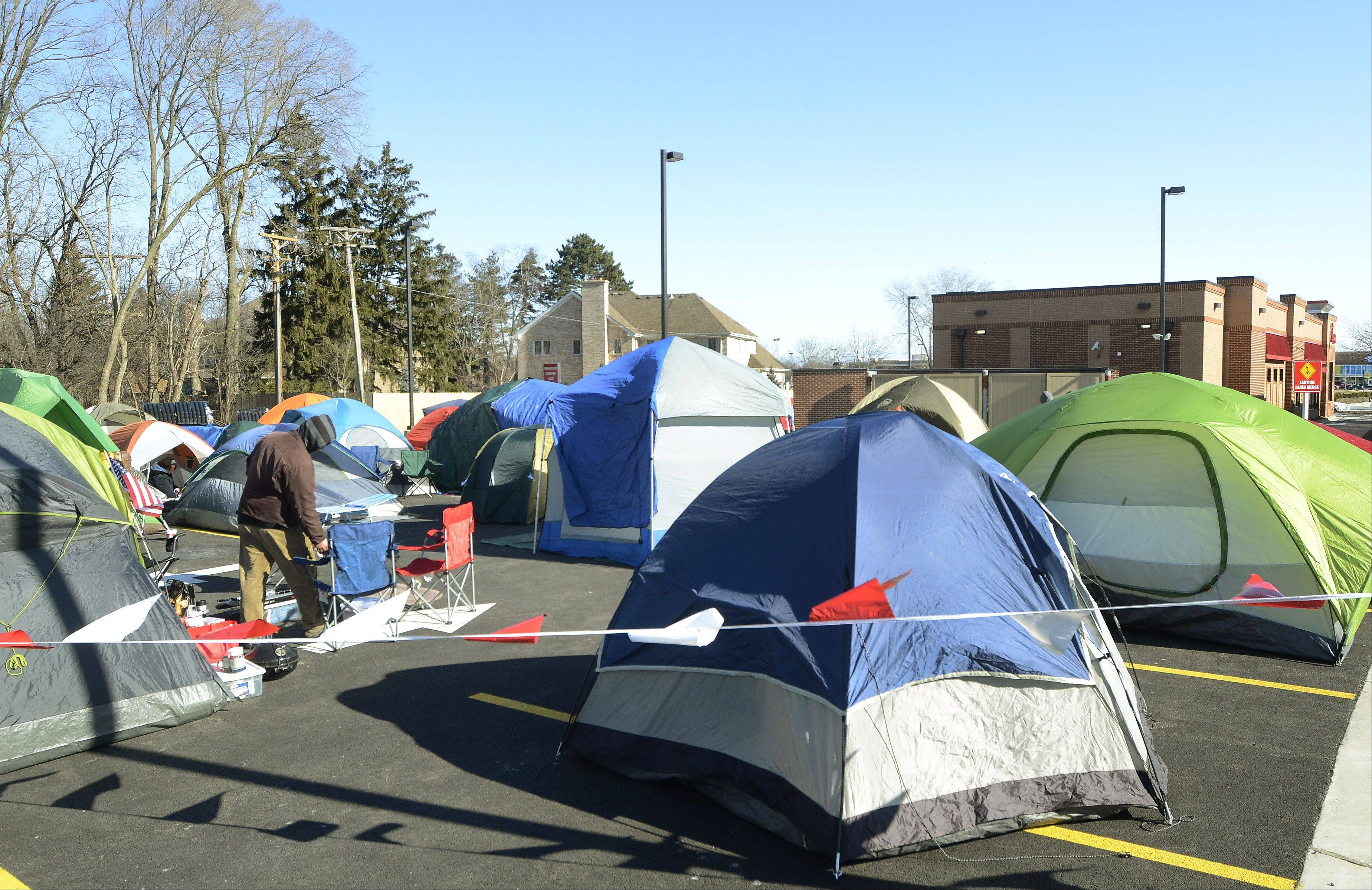 This is the tent city in the parking lot of the new Mount Prospect Chick-fil-A. The first 100 customers get free food for a year.