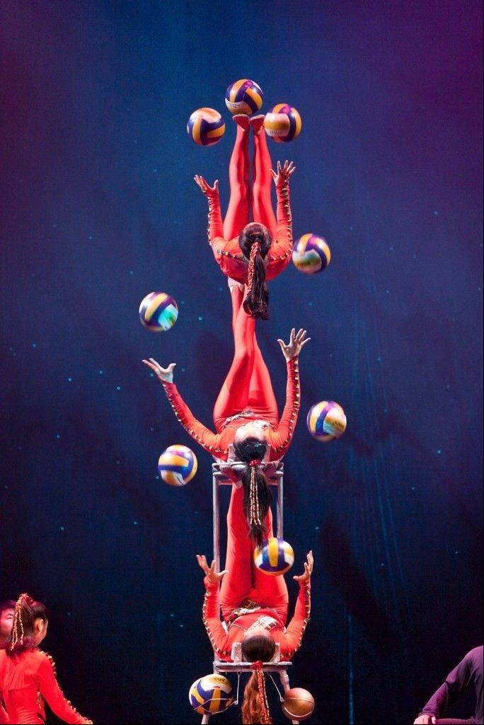 Cirque Ziva's 25 acrobats perform amazing feats of contortion and balance at College of Lake County's Lumber Center for the Performing Arts Friday.