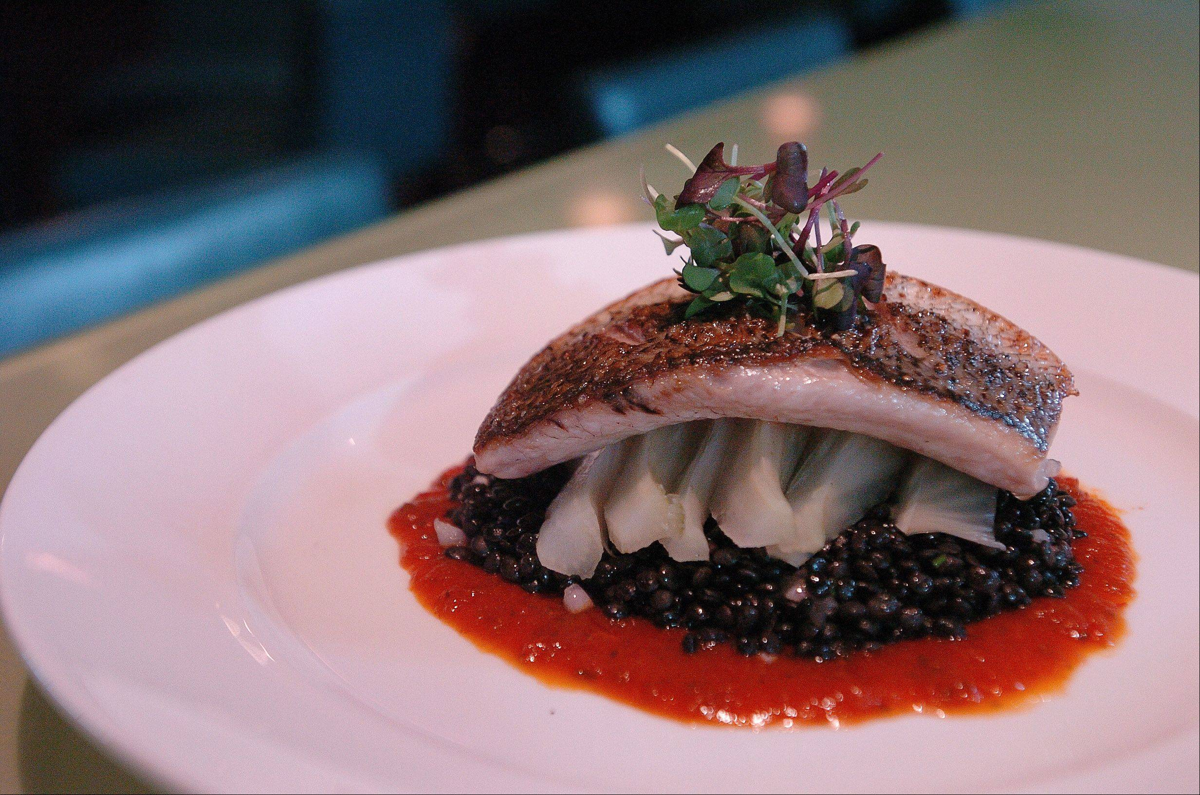 Virginia Striped Bass is served with beluga lentils Fresh 1800 in Schaumburg.
