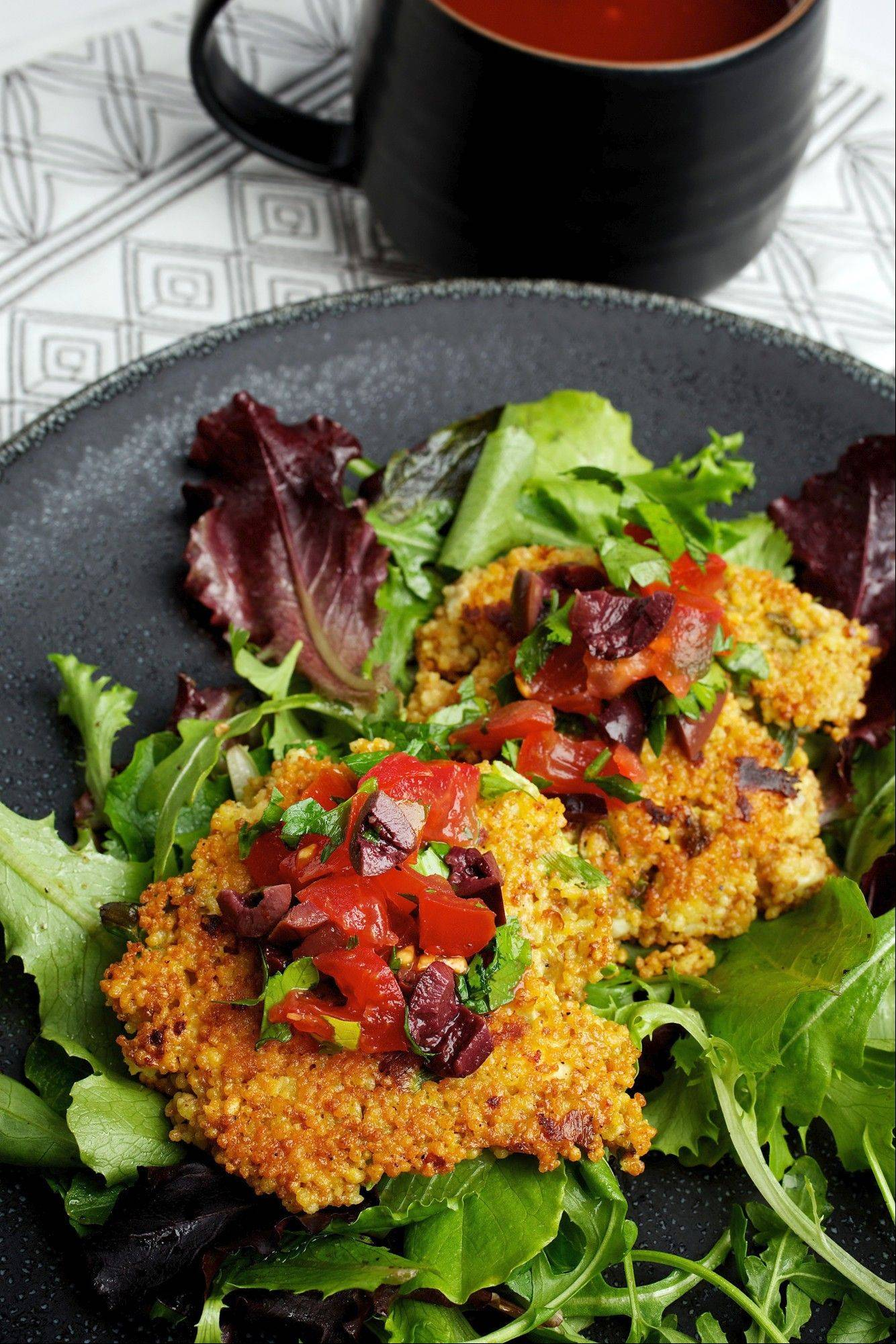 Adding warm components, like Feta-Scallion Couscous Cakes, amplifies winter salads.