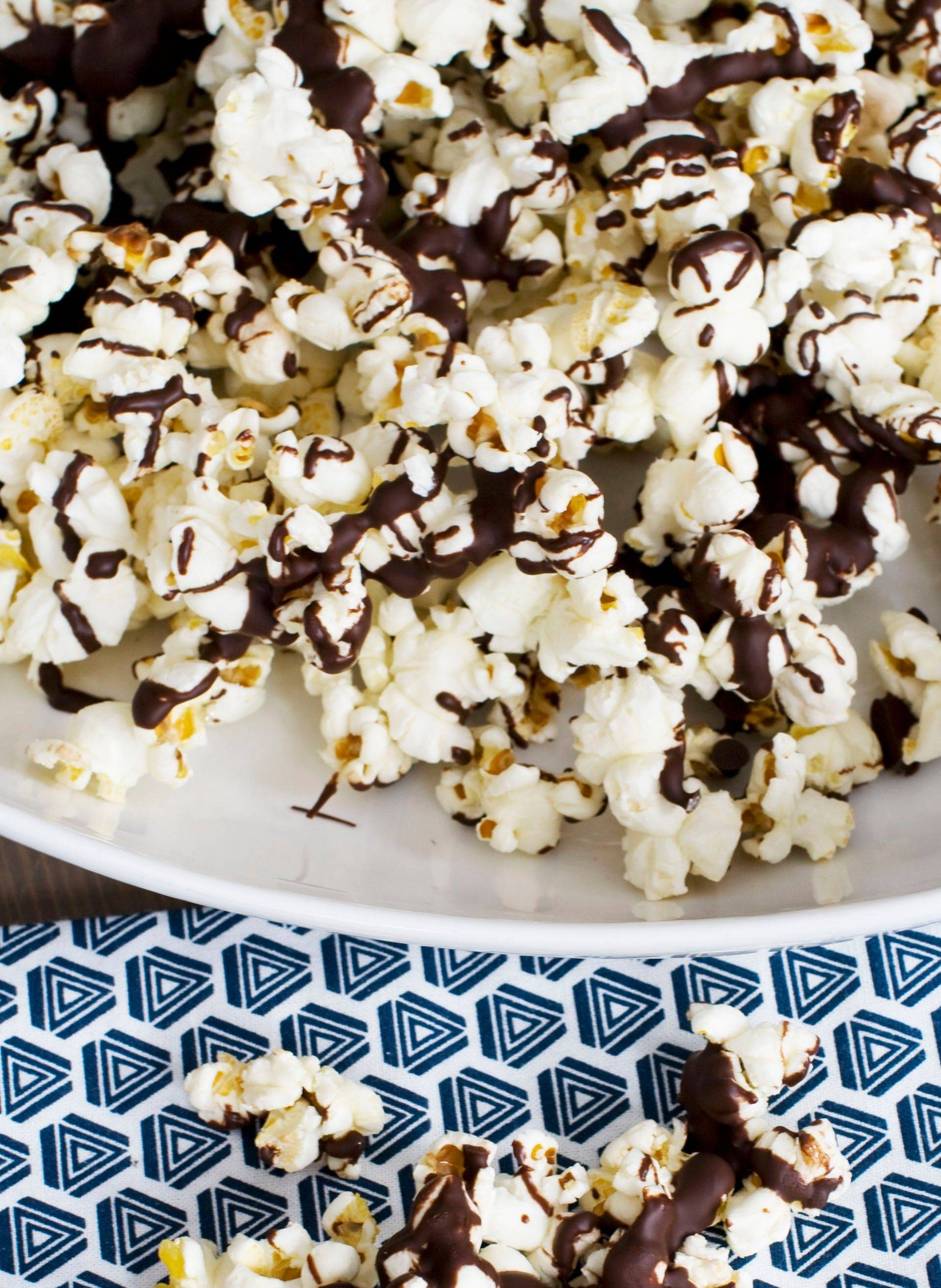 Melted chocolate dresses up stovetop popcorn for an Oscar party and any special occasion.