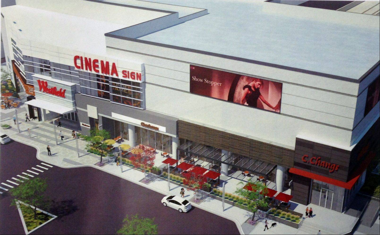 The addition of a new entry with restaurants at ground level and a 12-screen AMC theater above is considered a key aspect of a proposed renovation of the Westfield Hawthorn mall in Vernon Hills.