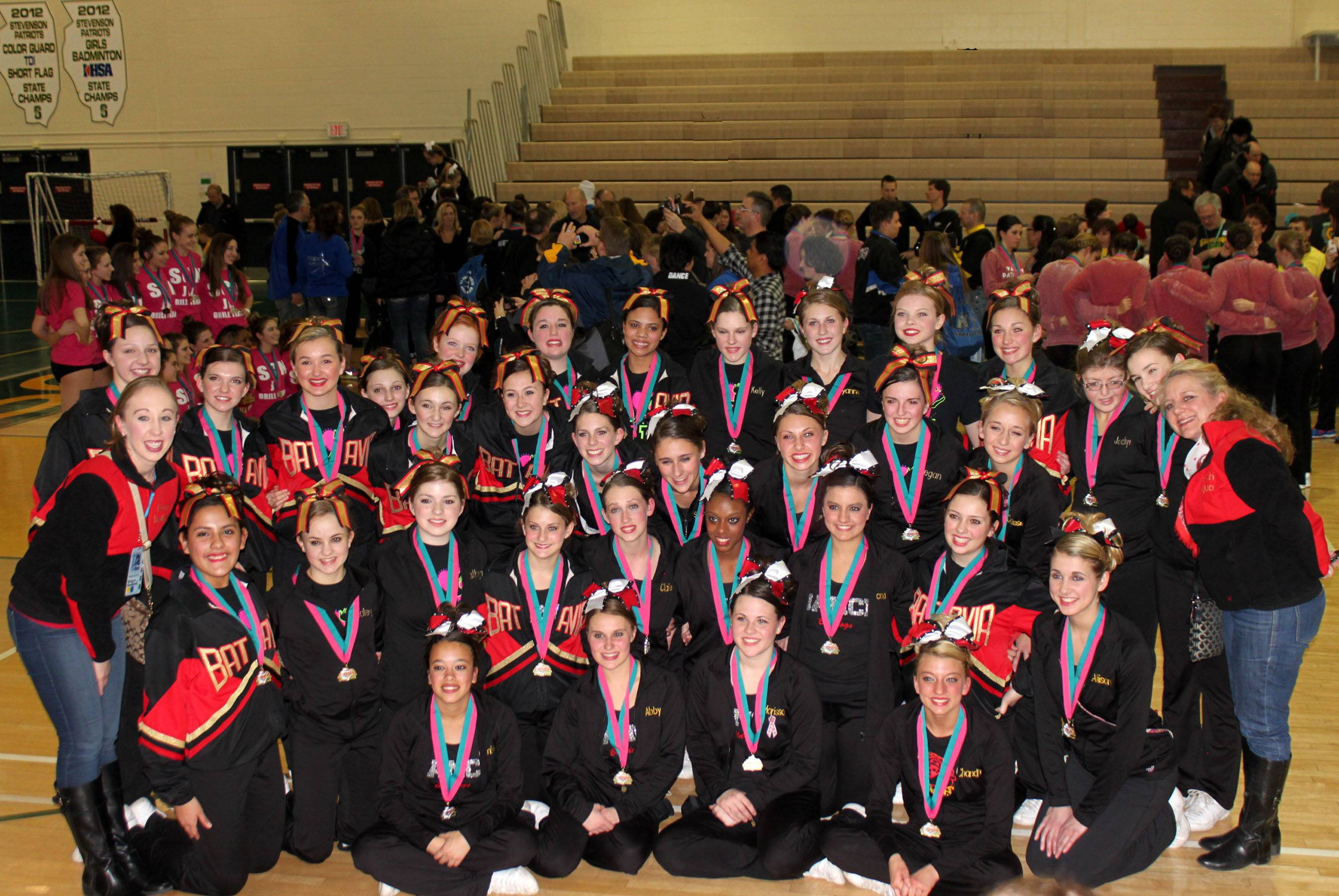 Batavia High School Varsity & JV Dance Teams compete at Stevenson High in Lincolnshire, their last TDI competition of season before State.