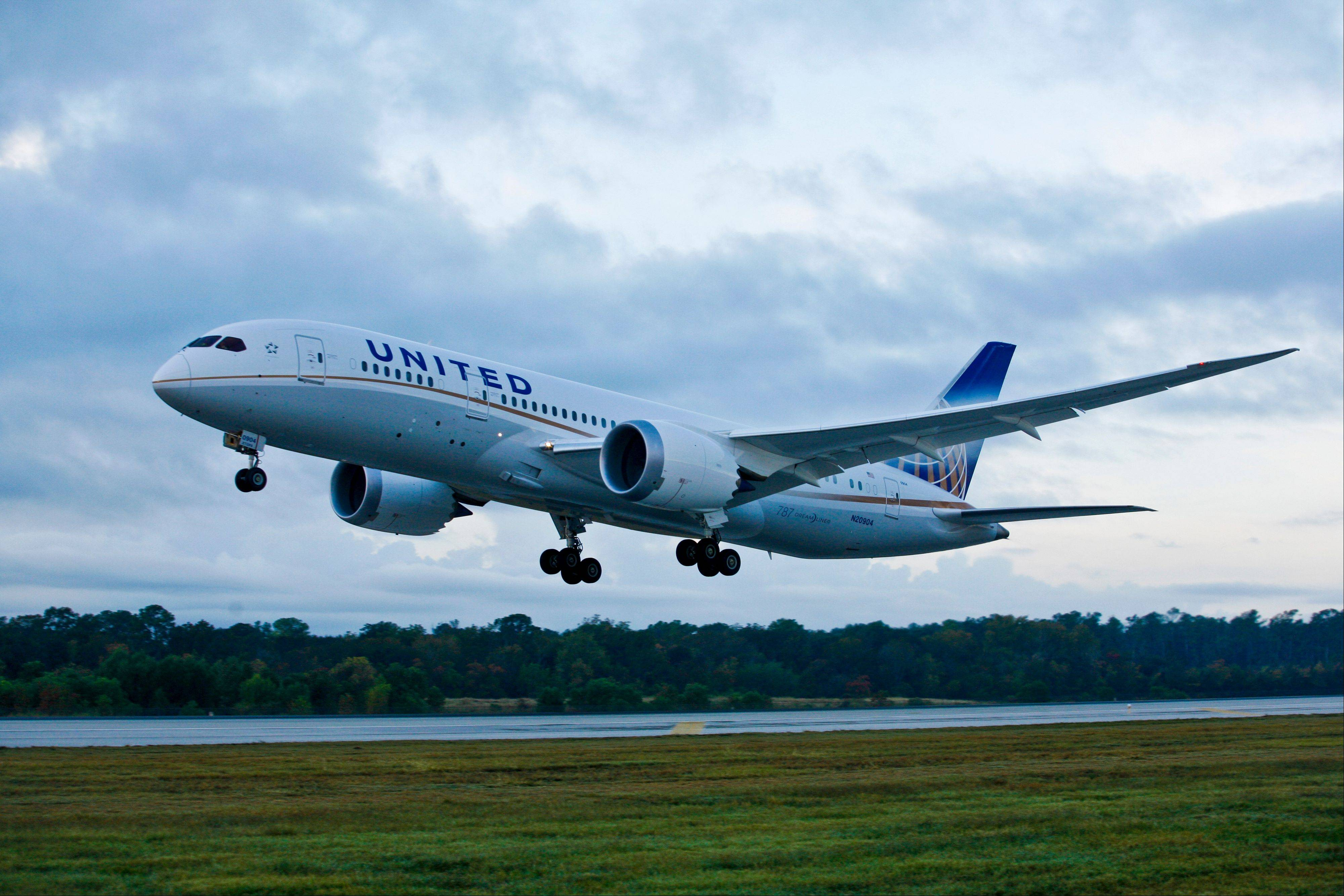 A United Airlines Boeing 787 takes off for its first scheduled commercial flight from Houston to Chicago, with more than 200 customers on board Nov. 4, 2012, in Houston at Bush International Airport.
