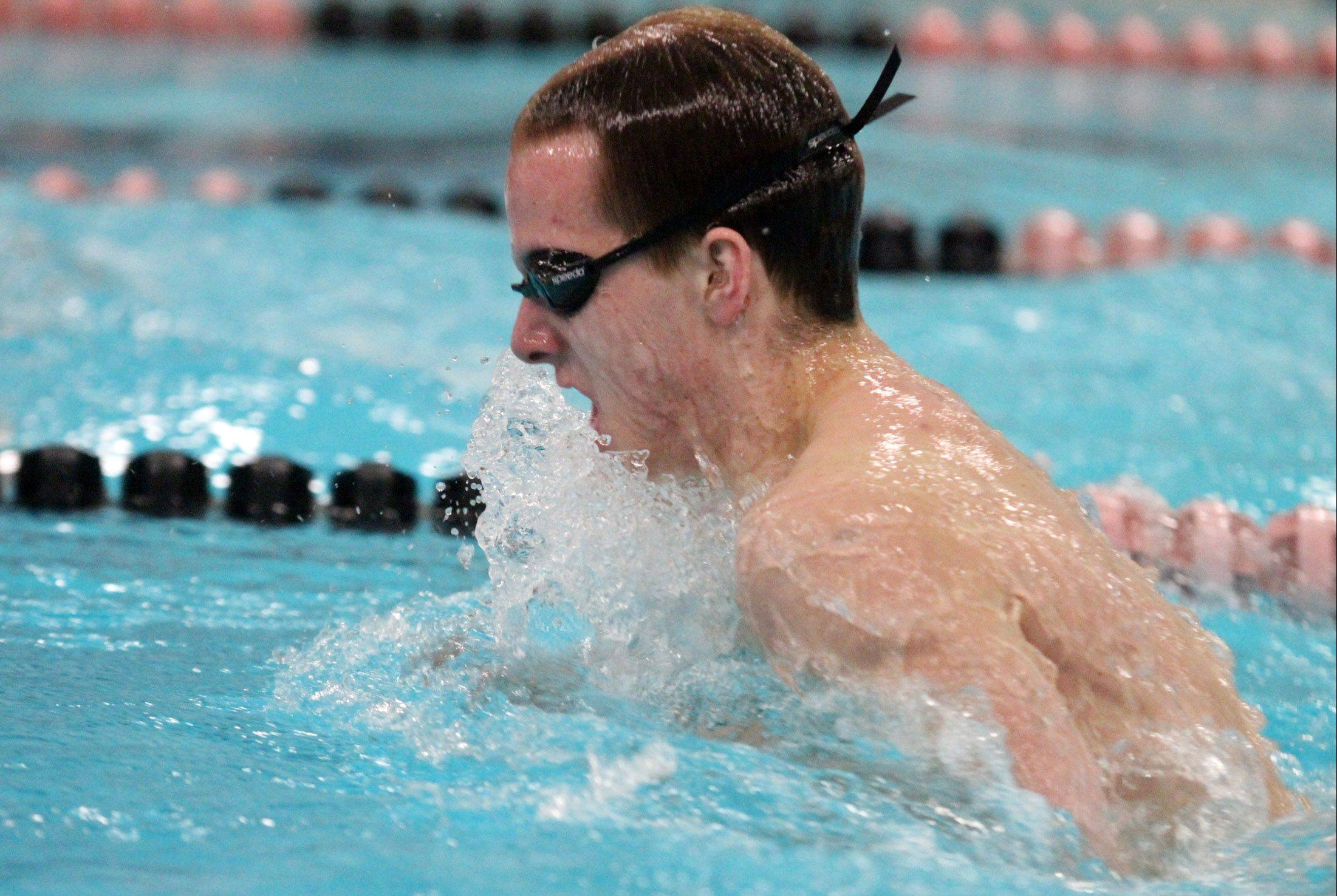 David Chokron swims the breast stoke leg of the 200-yard medley relay for St. Charles North at sectionals last Saturday.
