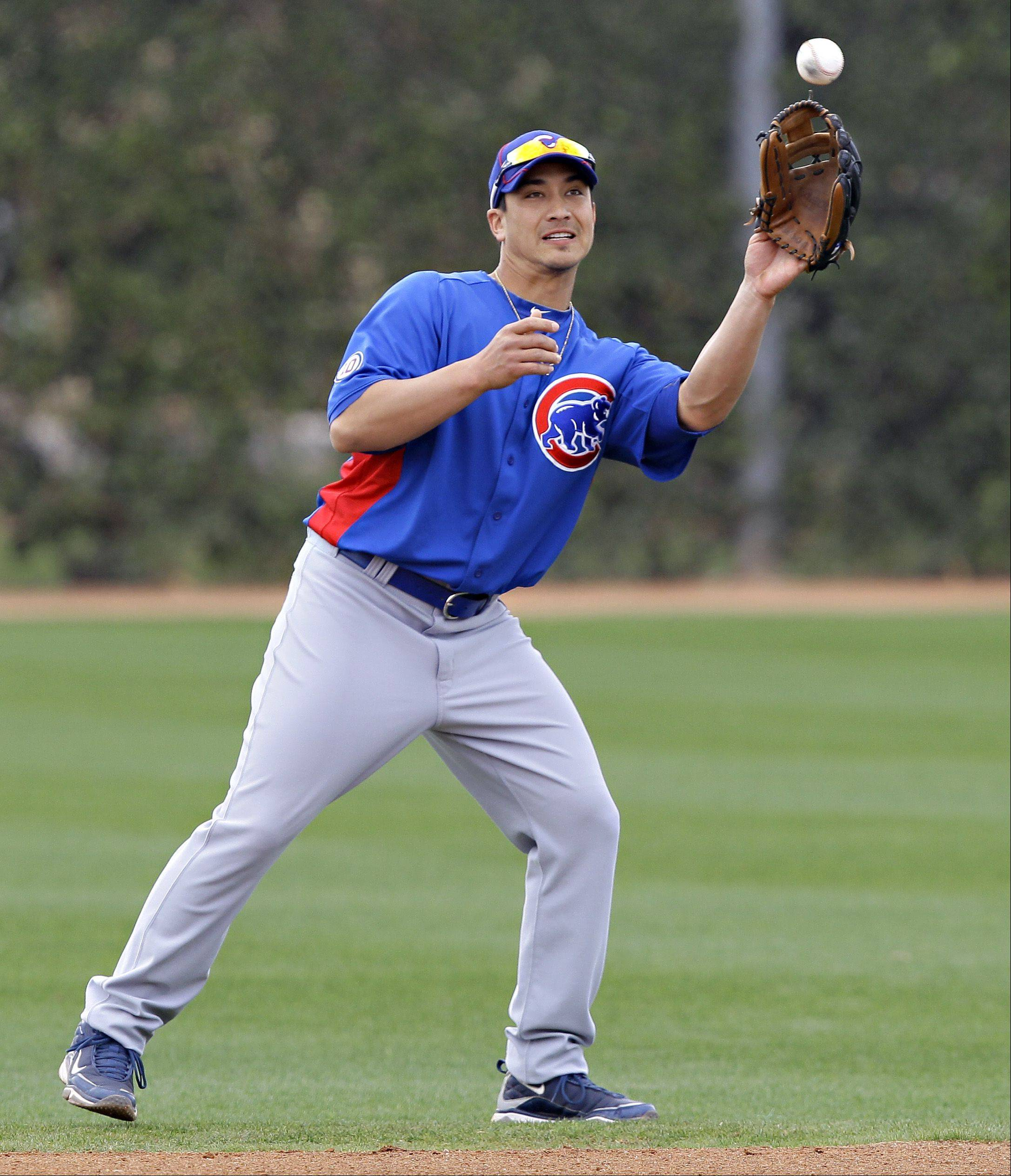 Chicago Cubs infielder Darwin Barney makes a catch during spring training baseball Friday, Feb. 18, 2011 in Mesa, Ariz. (AP Photo/Matt York)