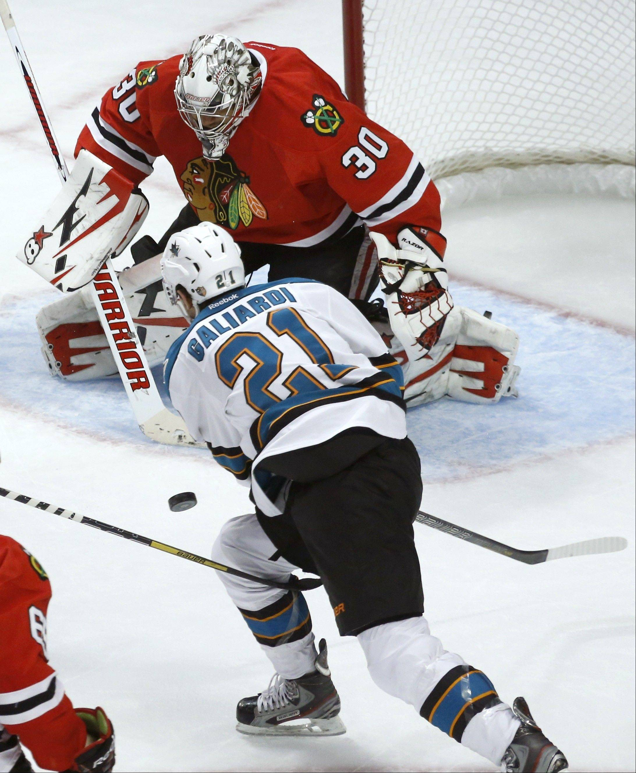 Blackhawks goalie Ray Emery (30) will get his fourth straight start in goal Friday when the Hawks host the San Jose Sharks.