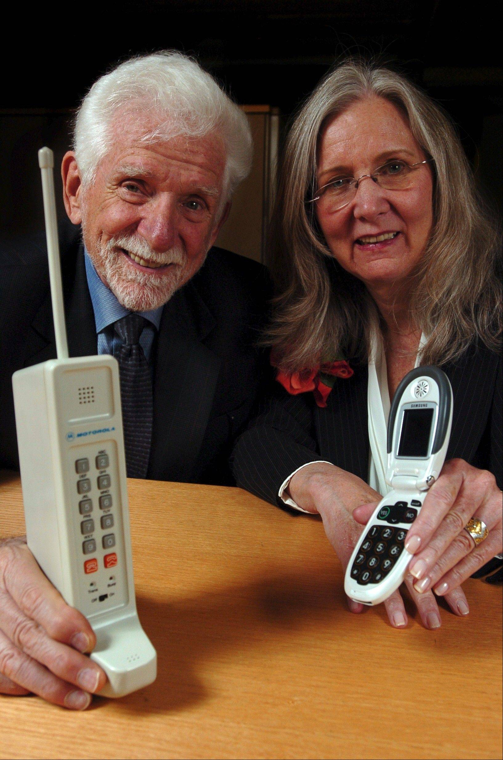 Marty Cooper, who led the Motorola team in 1973 to create the first cellphone called the DynaTac, with his wife Arlene Harris, the inventor of the Jitterbug cellphone for seniors.