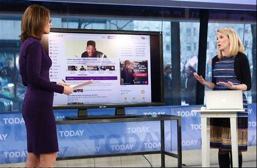 "NBC host Savannah Guthrie, left, with Yahoo CEO Marissa Mayer on the ""Today"" show, Wednesday as Mayer introduces the website's redesign. Yahoo is renovating the main entry into its website in an effort to get people to visit more frequently and linger for longer periods of time."