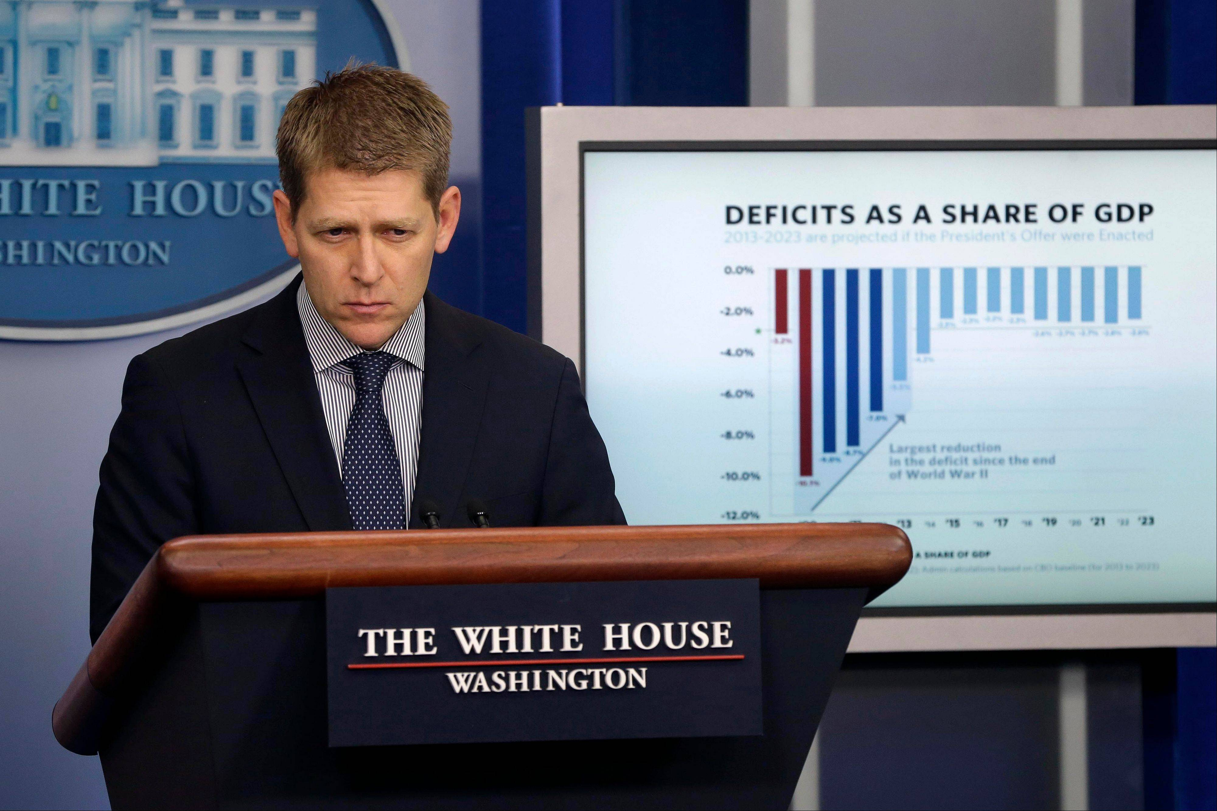White House press secretary Jay Carney addresses the press at his daily news briefing at the White House Thursday.