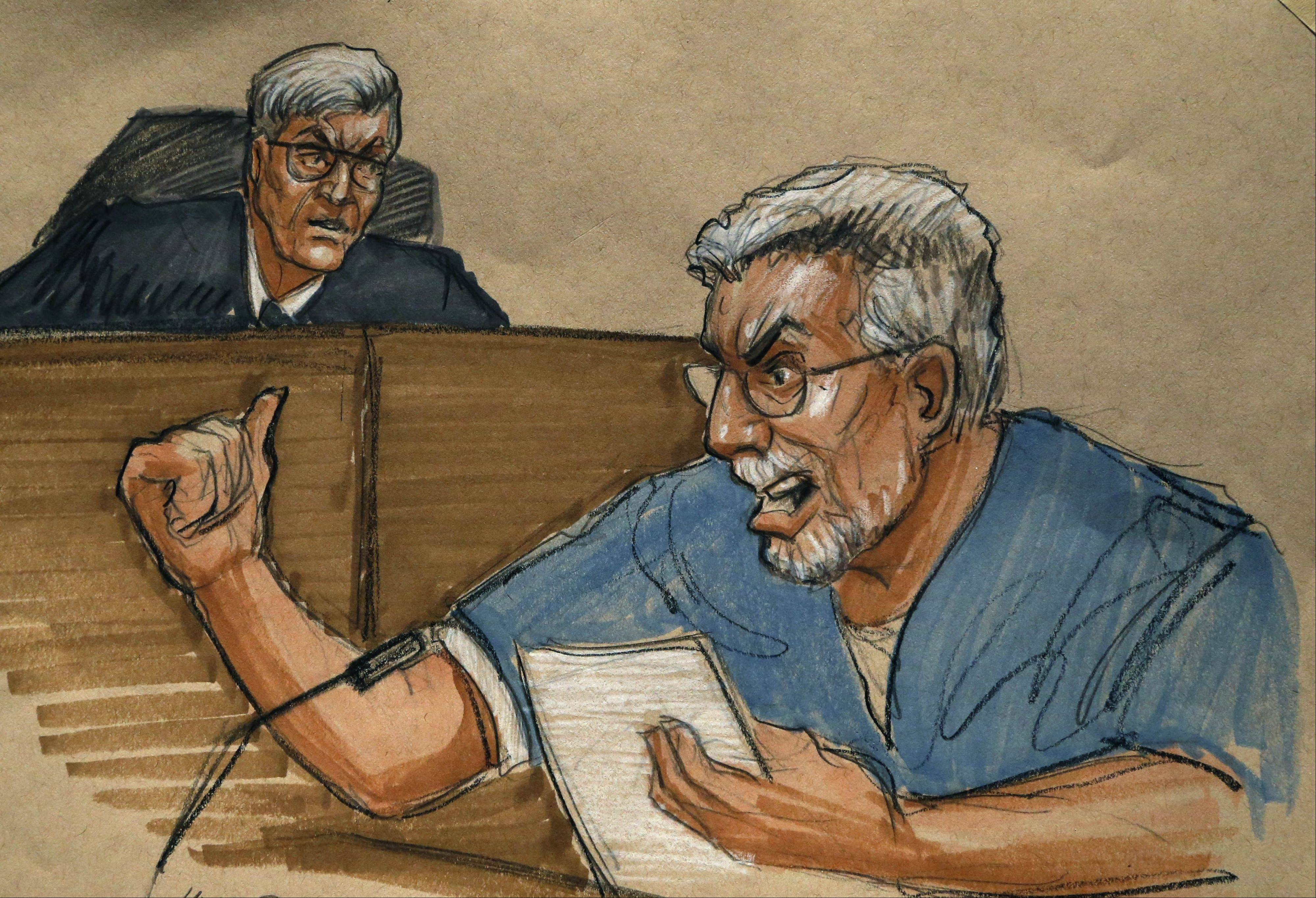 In this courtroom sketch, Drew Peterson angrily address the court and Will County Judge Edward Burmila during his sentencing Thursday for the murder of his third wife, Kathleen Savio.