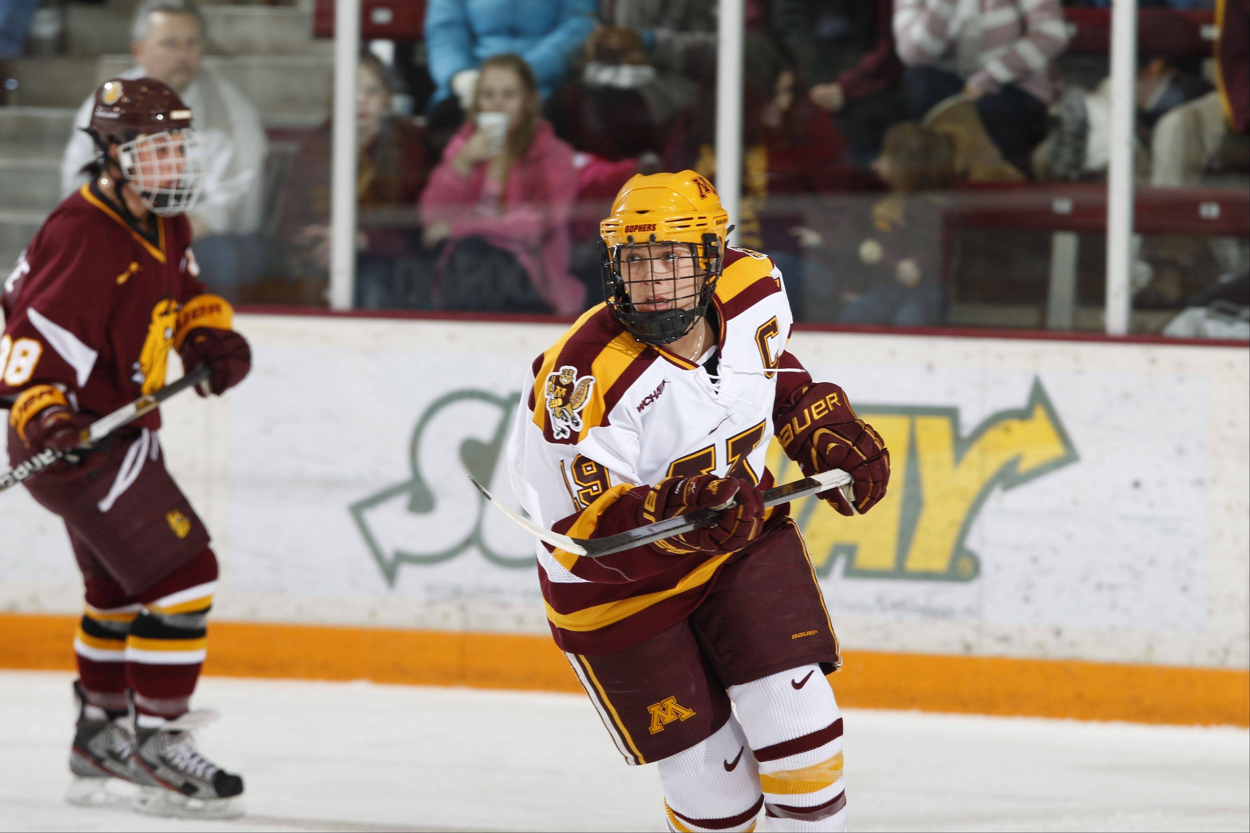 Buffalo Grove native Megan Bozek just broke the University of Minnesota women's record for career goals (42) and career points (135) by a defenseman.