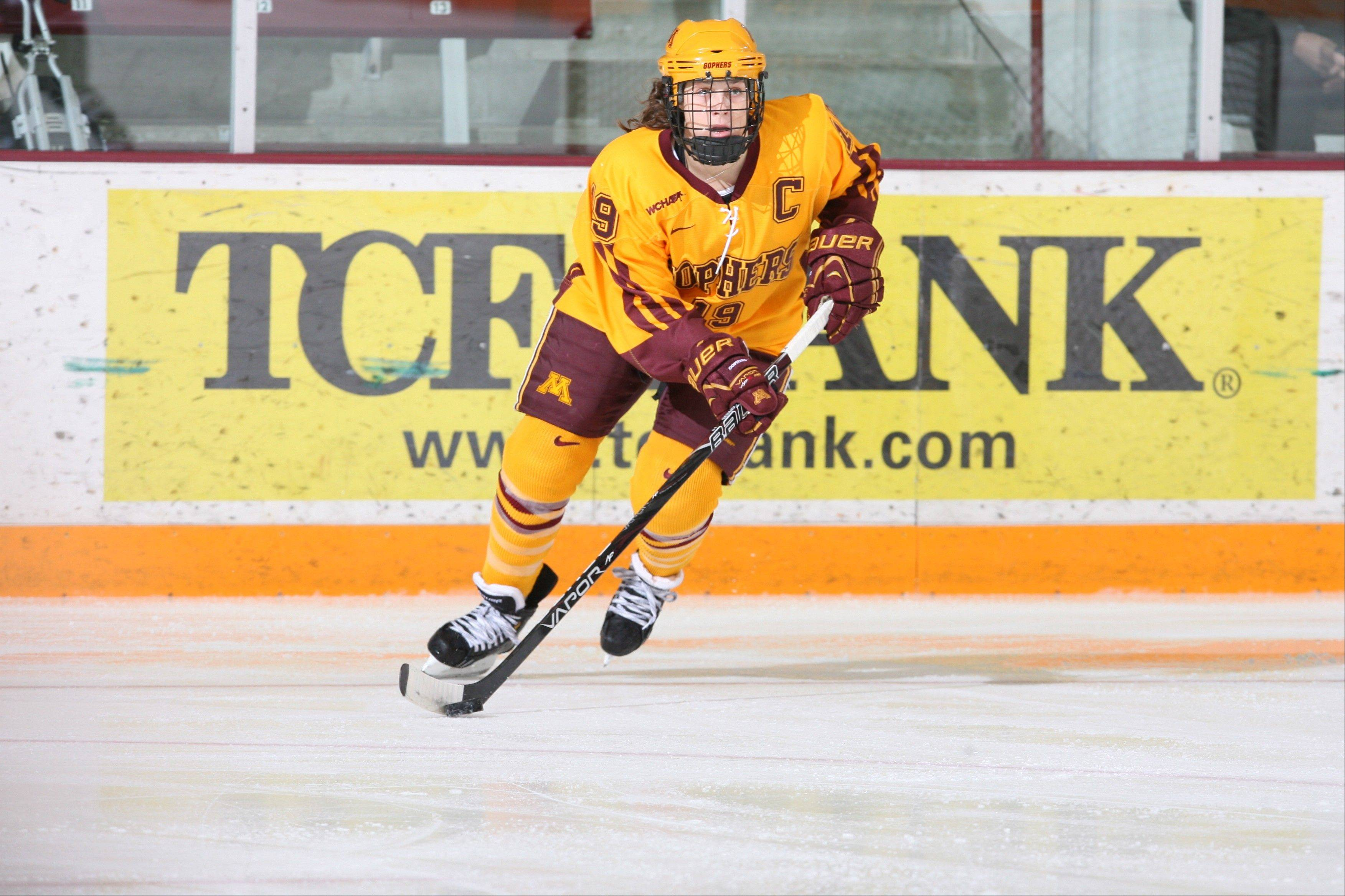 All-American defenseman Megan Bozek, a Buffalo Grove native and Stevenson grad, is co-captain of the undefeated University of Minnesota women's ice hockey team.