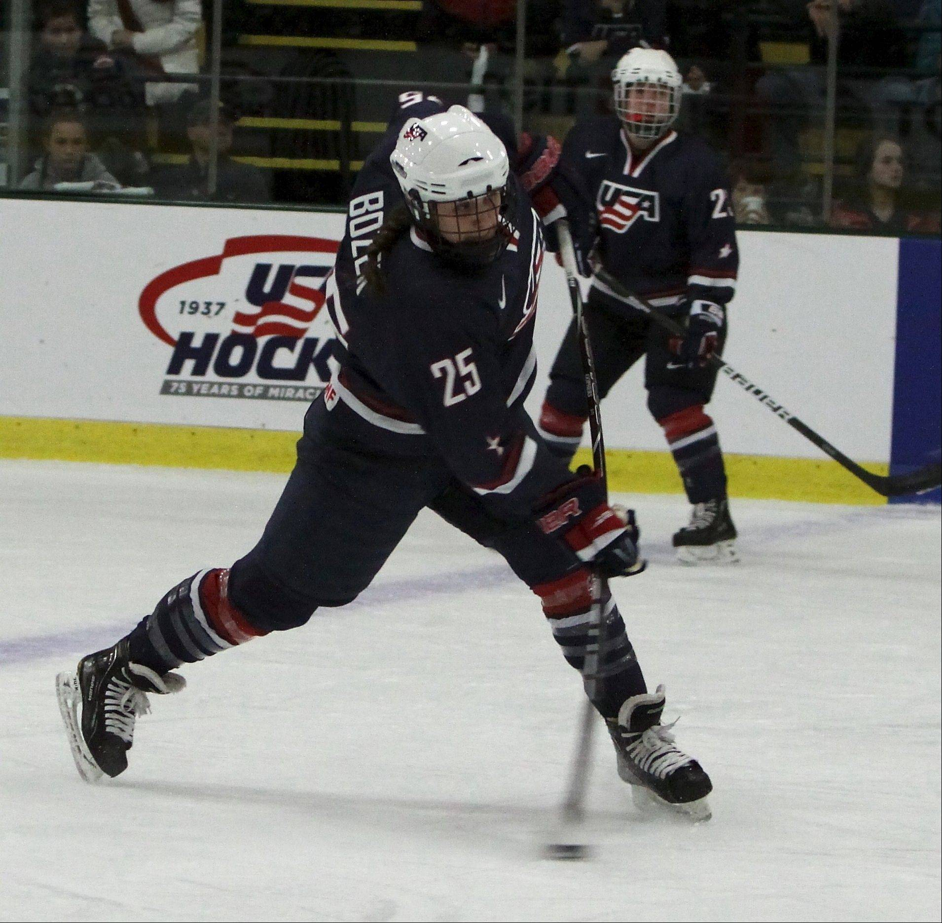 Megan Bozek skates for the U.S. women's team in 2012.