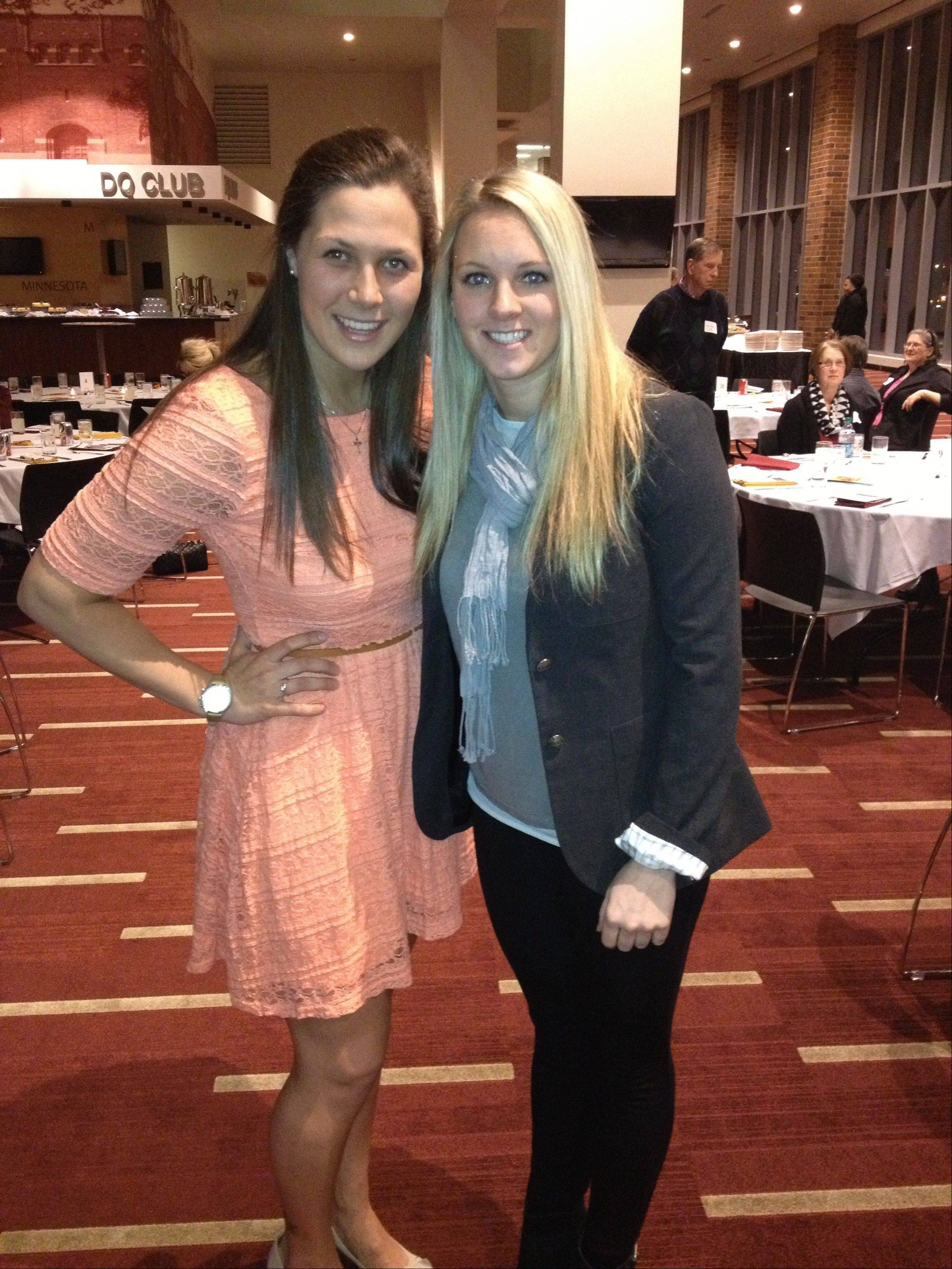 Buffalo Grove native Megan Bozek, left, is co-captain of the undefeated University of Minnesota women's ice hockey team. Here she stands with teammate Amanda Kessel at the team's senior banquet.