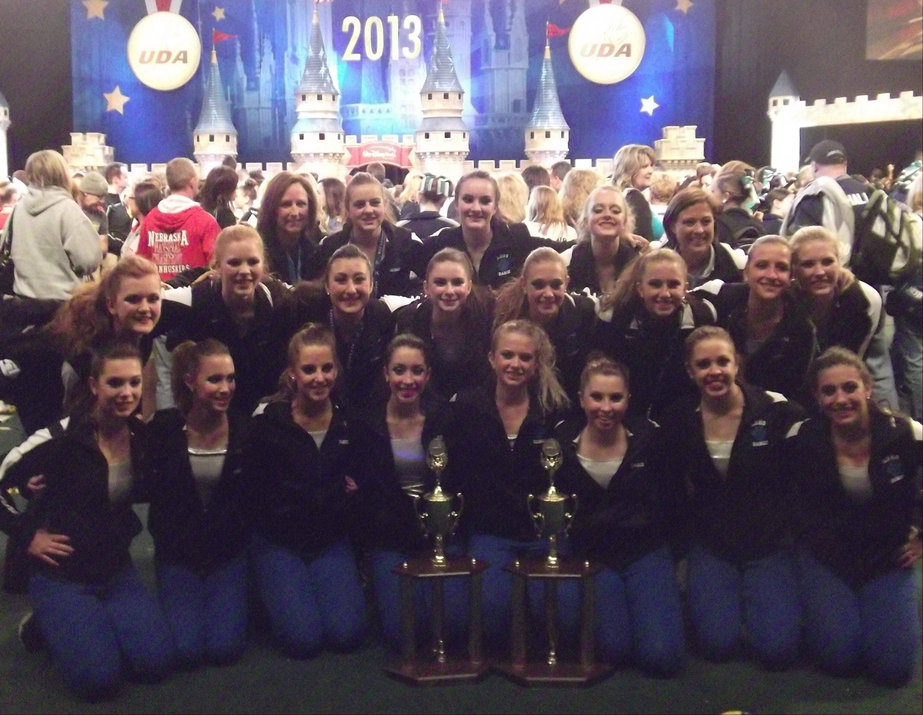 The Lake Zurich High School Varsity Dance Team won two trophies at the 2013 UDA National Dance Team Championship at the Walt Disney World Resort in Orlando, Fla.