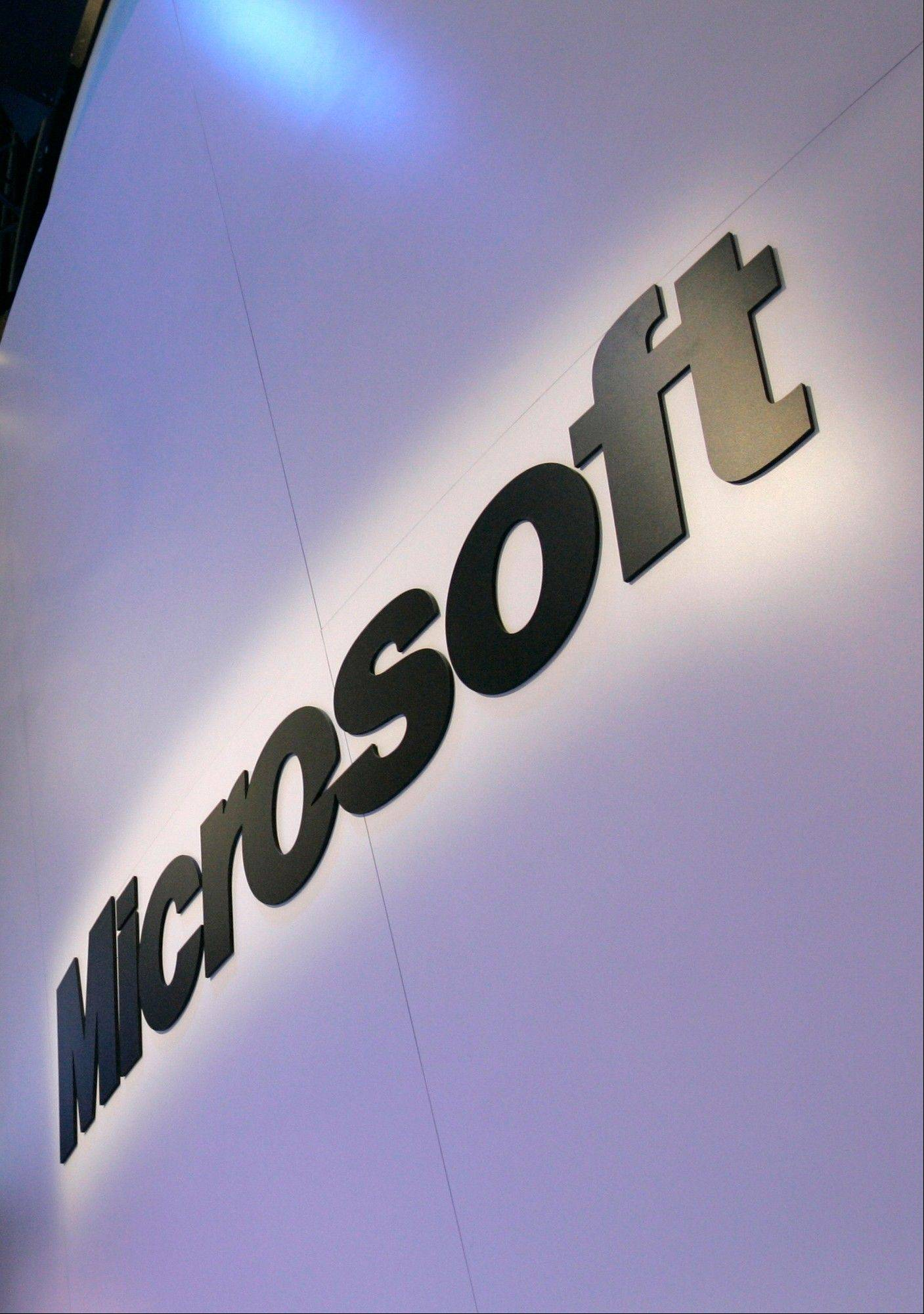 Associated Press/ Jan. 10, 2009 The Microsoft logo at the company�s exhibit at the Consumer Electronics Show in Las Vegas.