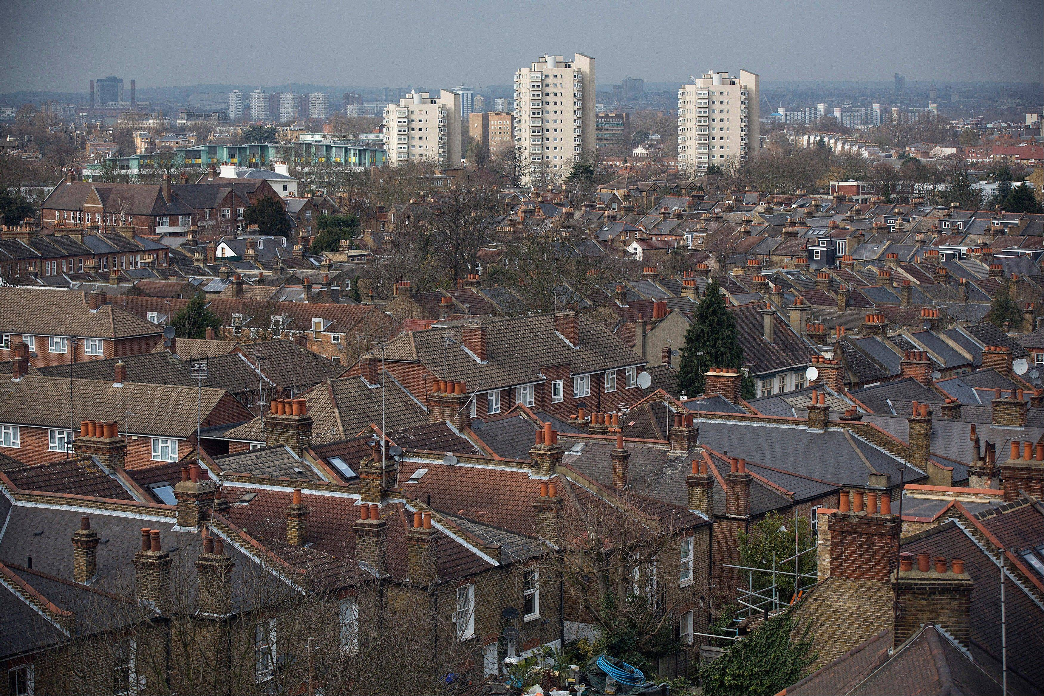 Residential houses and apartment blocks in the Brixton district of London.