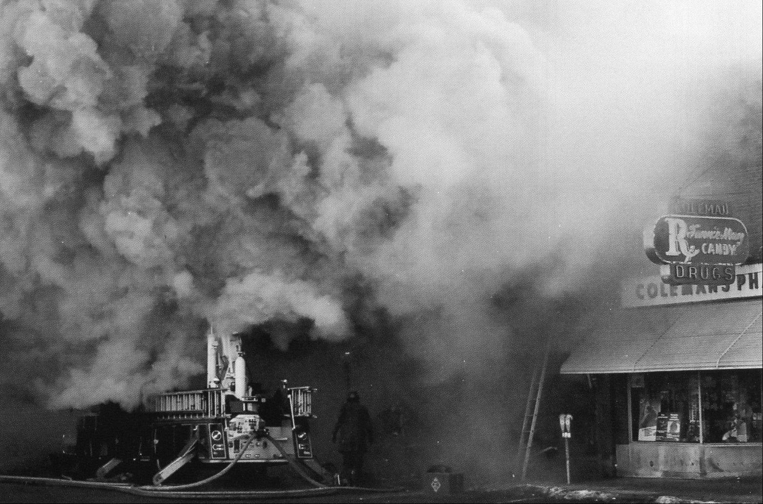 Palatine firefighters at the scene of the Ben Franklin store fire in Palatine on February 23, 1973. That fire killed three Palatine firefighters.
